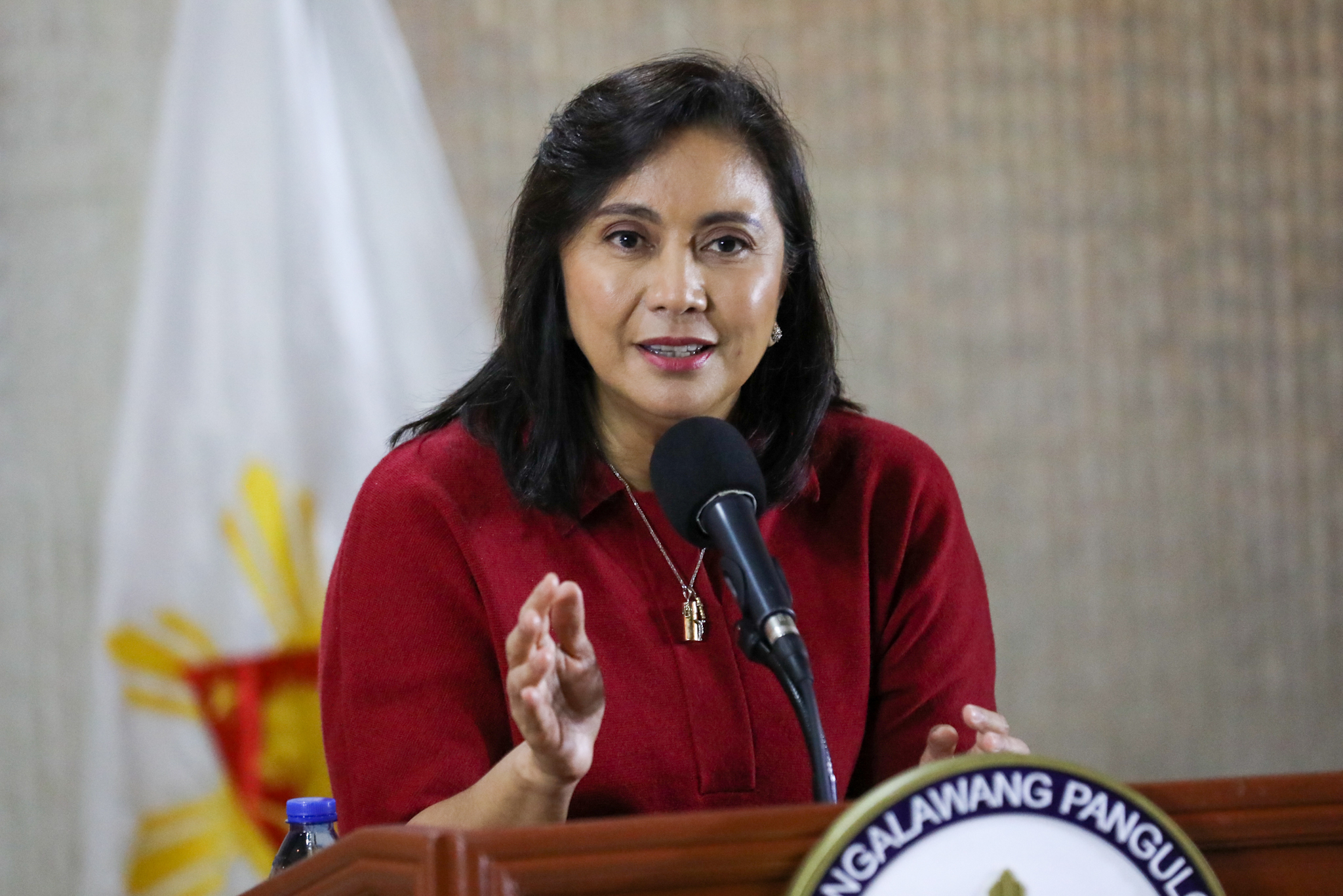 In this Monday, Jan. 6, 2020, photo provided by the Office of the Vice President, Philippine Vice President Leni Robredo delivers her statement in suburban Quezon city, northeast of Manila, Philippines.