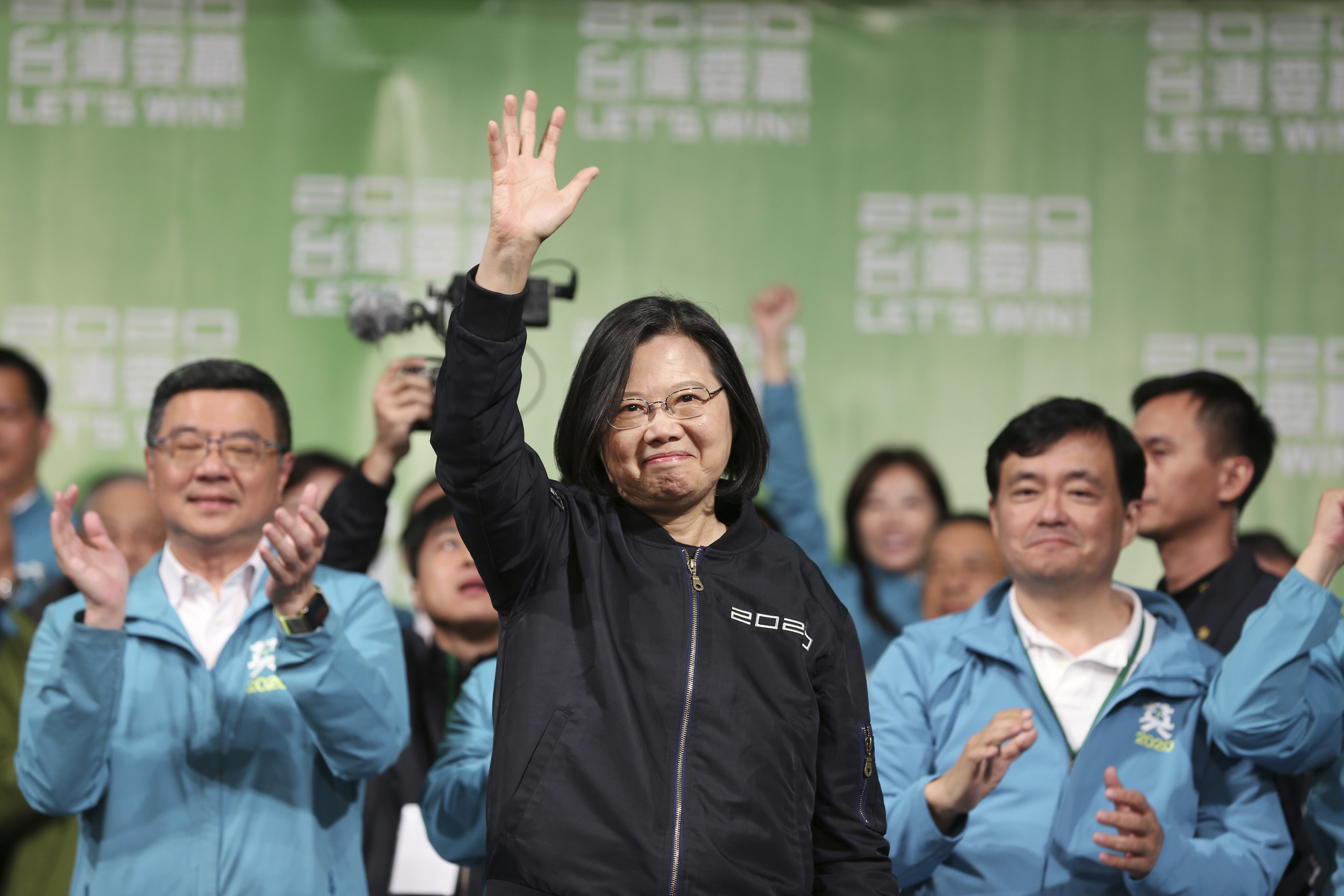 Taiwan's 2020 presidential election candidate, Taiwanese President Tsai Ing-wen celebrates her victory with supporters in Taipei, Taiwan, on Jan. 11, 2020.