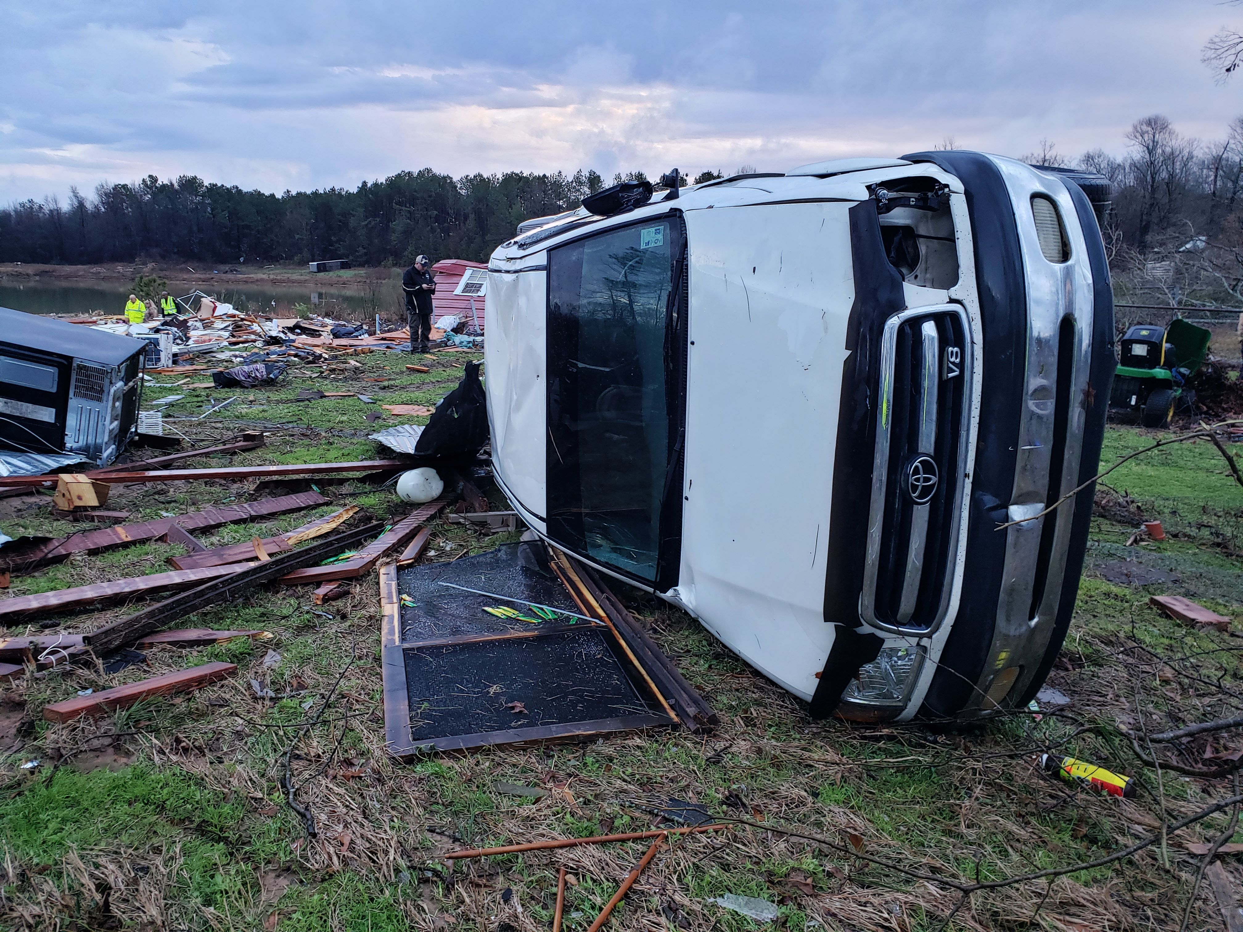 This photo provided by Bossier Parish Sheriff's Office shows damage from Friday nights severe weather, including the home of an elderly in Bossier Parish, La., on Jan. 11, 2020.