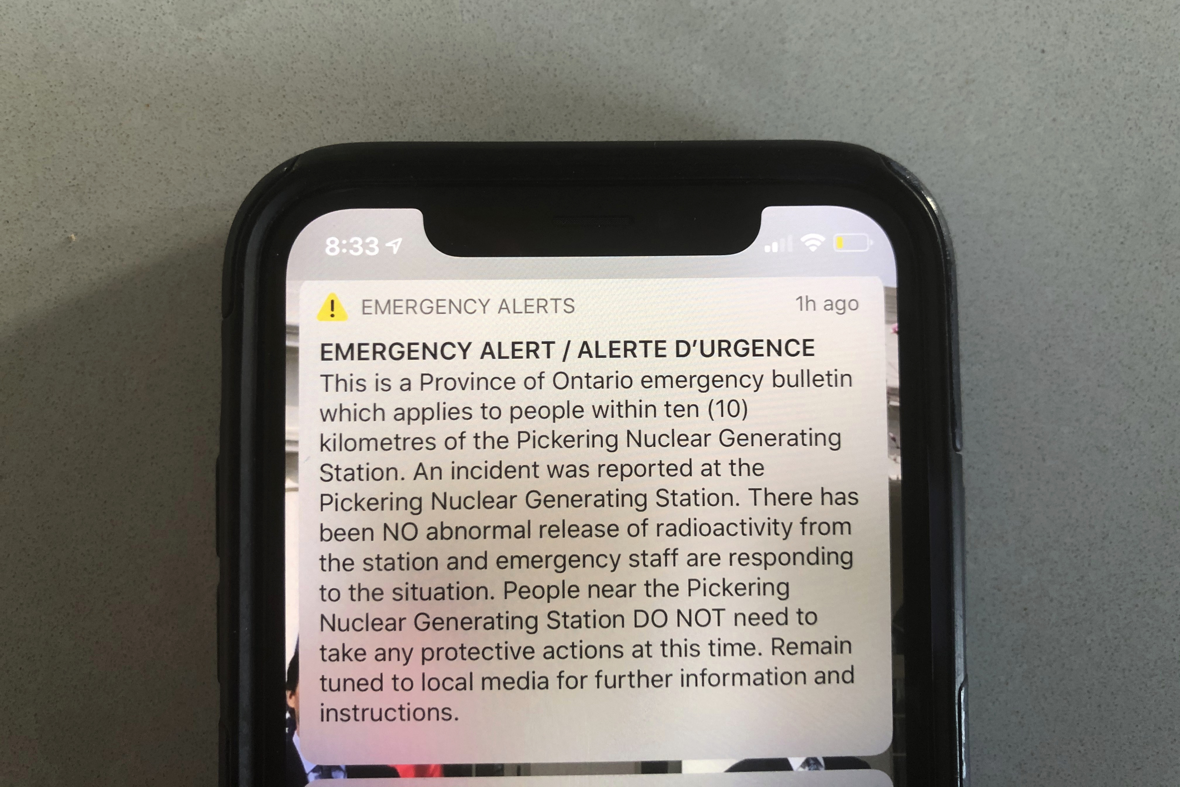 "An emergency alert issued by the Canadian province of Ontario reporting an unspecified ""incident"" at a nuclear plant is shown on a smartphone on Jan. 12, 2020."