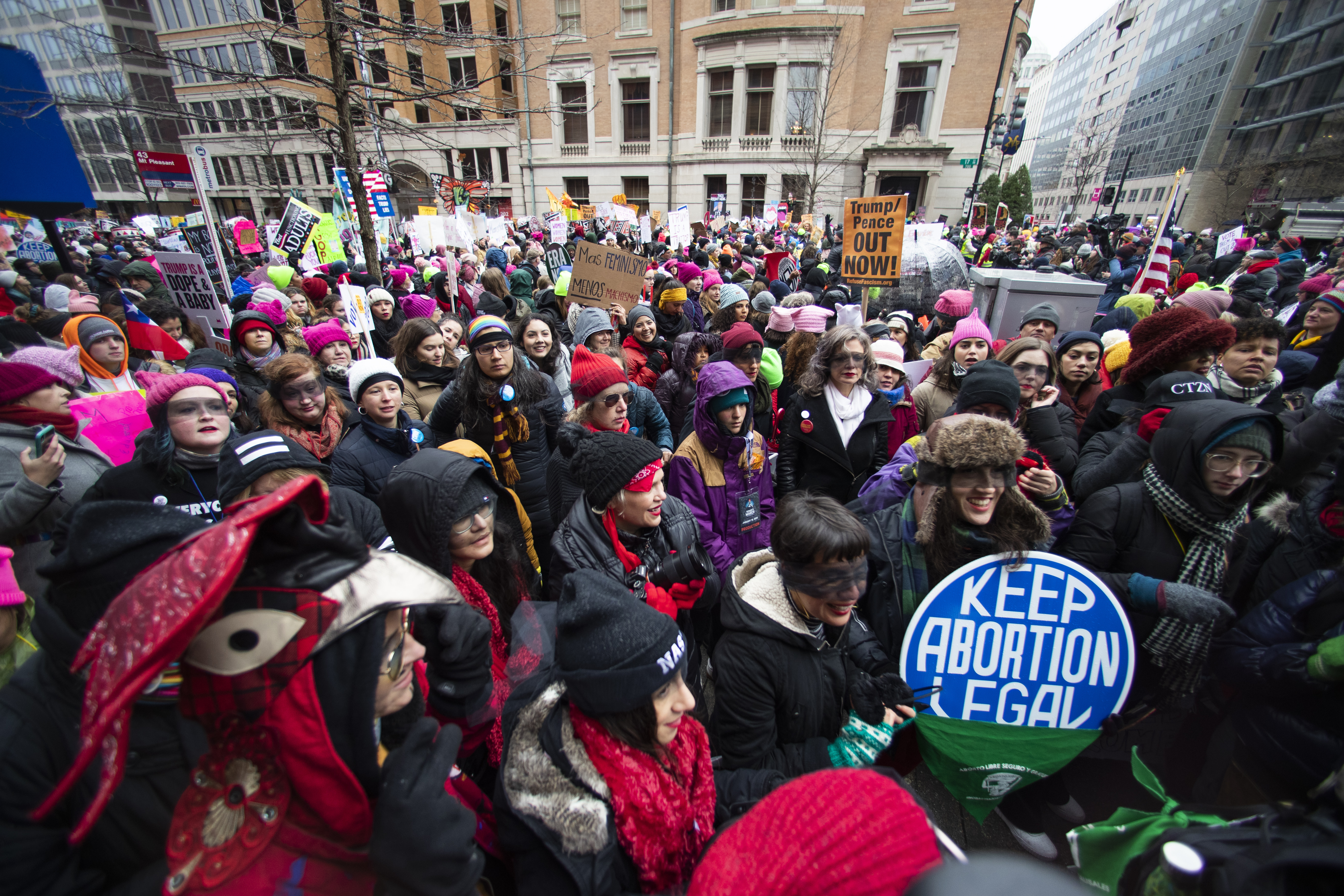 Participants of the Women's March march around the White House three years after the first march in 2017, the day after President Donald Trump was sworn into office, in Washington D.C., on Jan. 18, 2020.