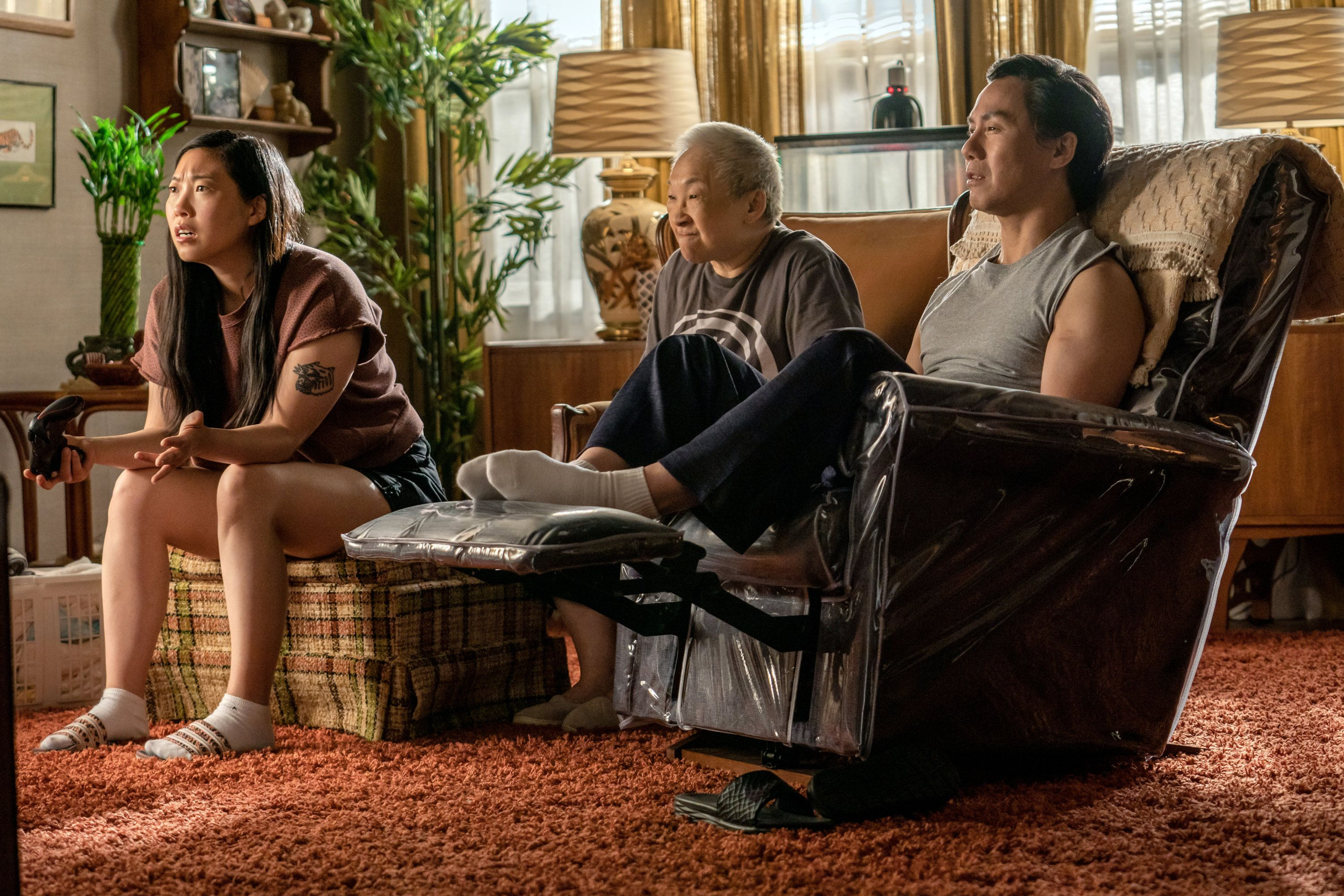 From left, Awkwafina, Lori Tan Chinn, and BD Wong in  Awkwafina is Nora From Queens.