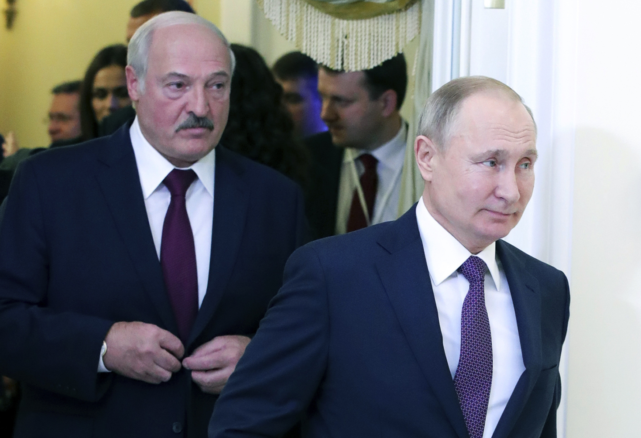 Russian President Vladimir Putin, right, and Belarusian President Alexander Lukashenko walk before a meeting of the Supreme Eurasian Economic Council in St. Petersburg, Russia, on Dec. 20, 2019.