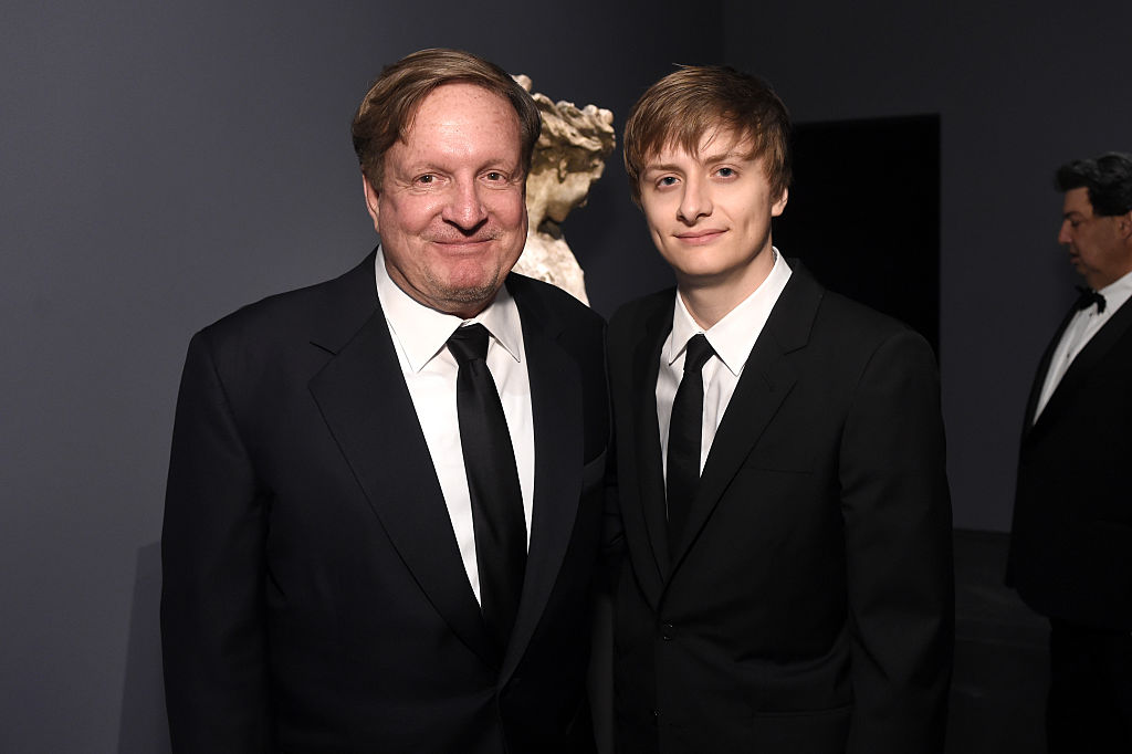 LACMA trustee Ron Burkle (L) and Andrew Burkle attend LACMA's 50th Anniversary Gala sponsored by Christie's at LACMA on April 18, 2015 in Los Angeles, California.
