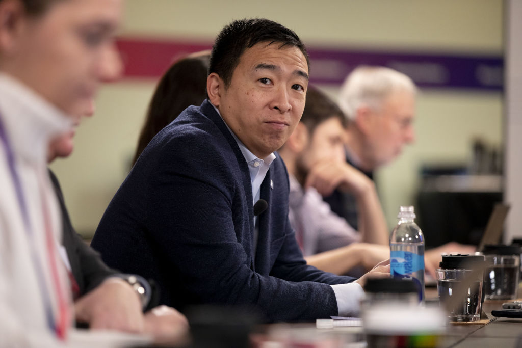 Presidential candidate Andrew Yang listens during an interview in Des Moines, Iowa, on Jan. 29.