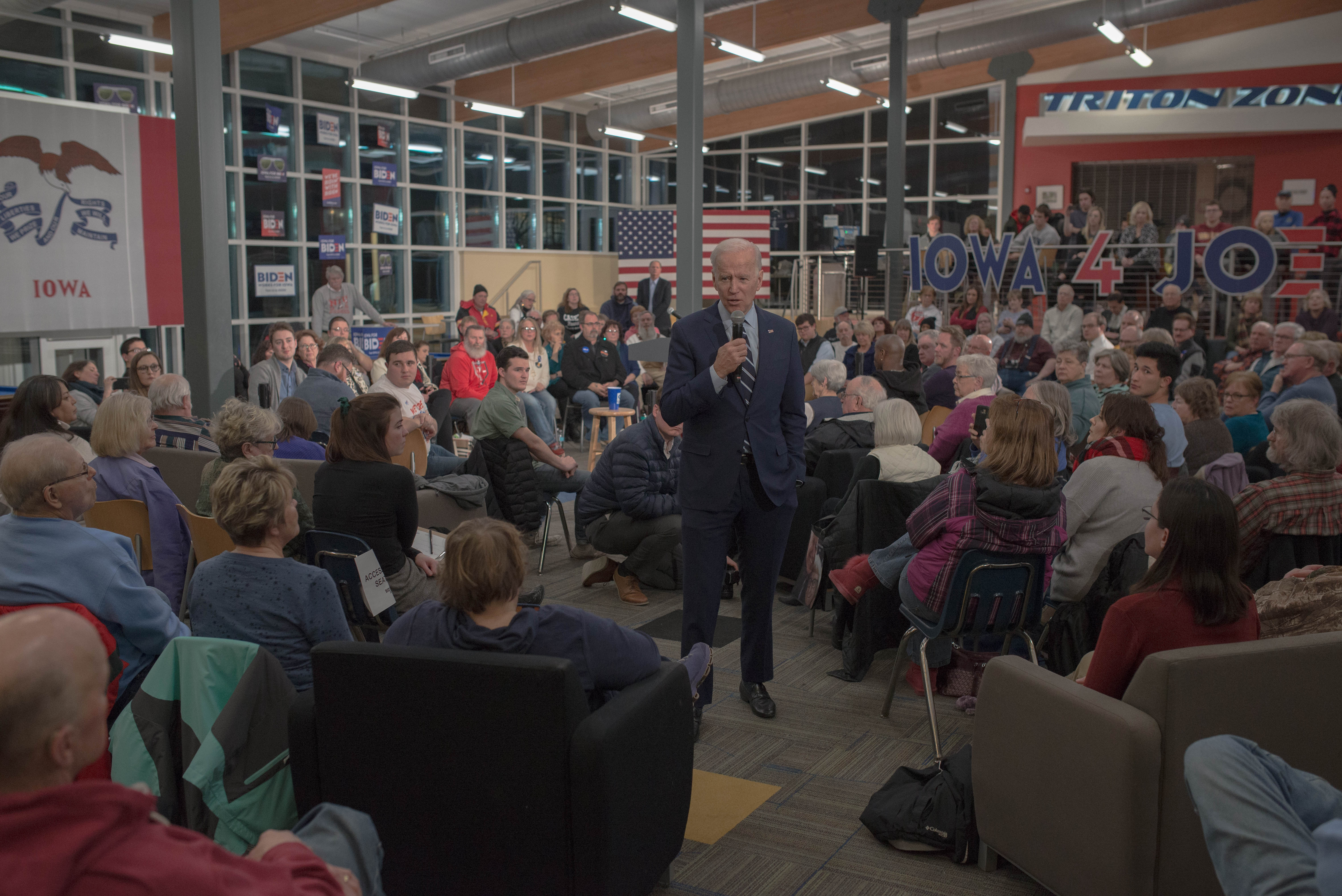 Presidential candidate, former Vice President Joe Biden  during a community event in Fort Dodge, Iowa, Jan. 21, 2020.