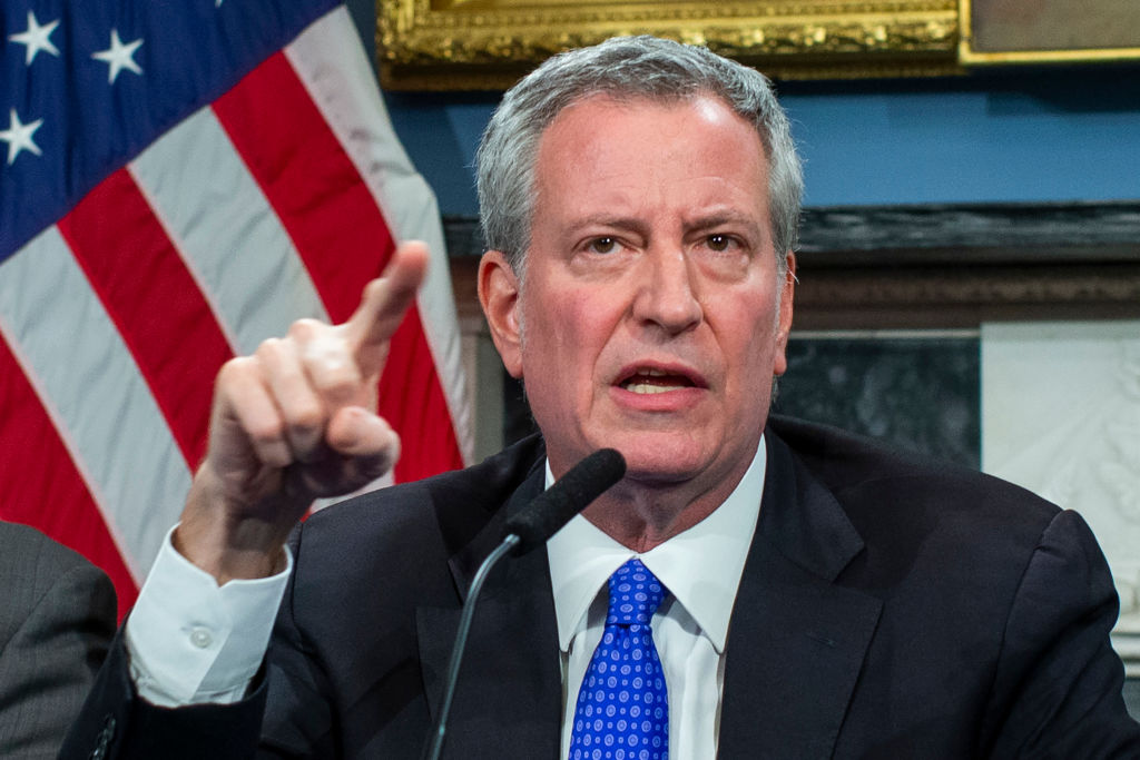 New York Mayor Bill de Blasio speaks to the media during a press conference at City Hall on January 3, 2020 in New York City. The NYPD will take actions to protect the city and residents against any possible retaliation after the deadly US airstrike in Iraq, Mayor Bill de Blasio said during a press conference.