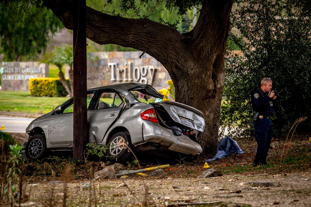 California Highway Patrol investigates the scene of a crash that killed three teens and injured three others in the Temescal Valley area on Jan. 20, 2020. The crash was reported at 10:28 p.m. Sunday according to the Riverside Fire Department.