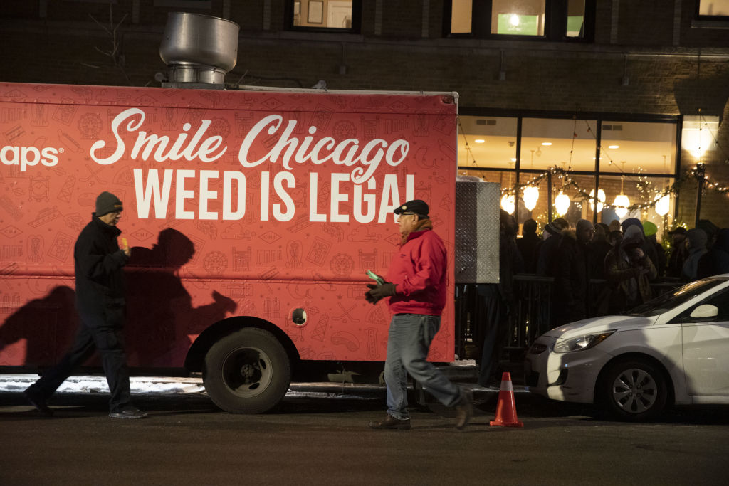 A Weed Maps truck sits near the Cresco Labs Sunnyside* Lakeview dispensary as recreational marijuana sales begin in Chicago, Illinois, U.S., on Jan. 1, 2020.