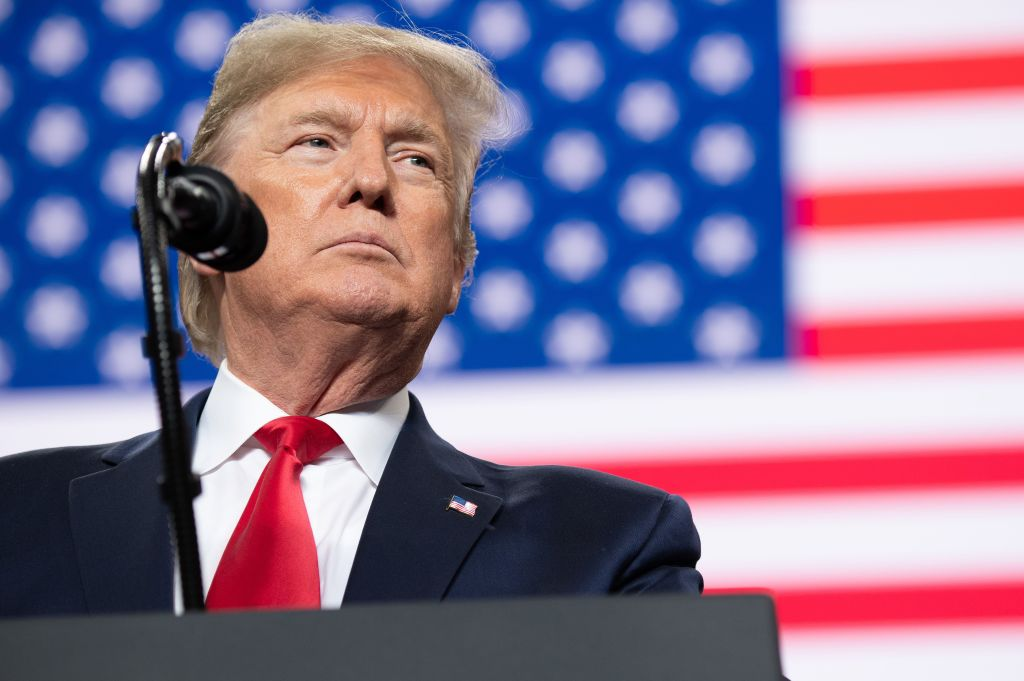 US President Donald Trump speaks during a  Keep America Great  campaign rally at Huntington Center in Toledo, Ohio, on Jan. 9, 2020.