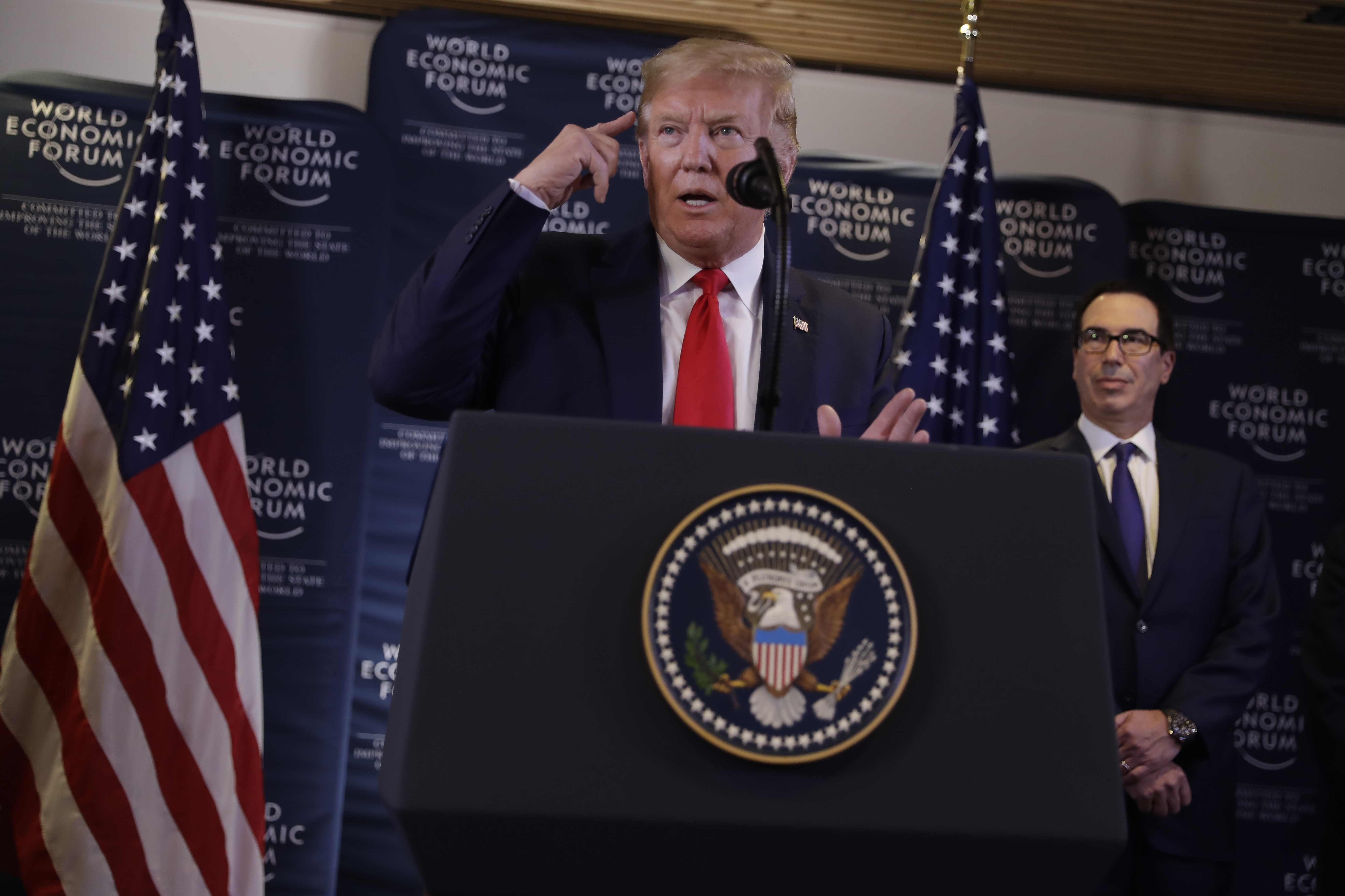 U.S. President Donald Trump speaks during a news conference at the World Economic Forum in Davos, Switzerland, on Jan. 22, 2020.