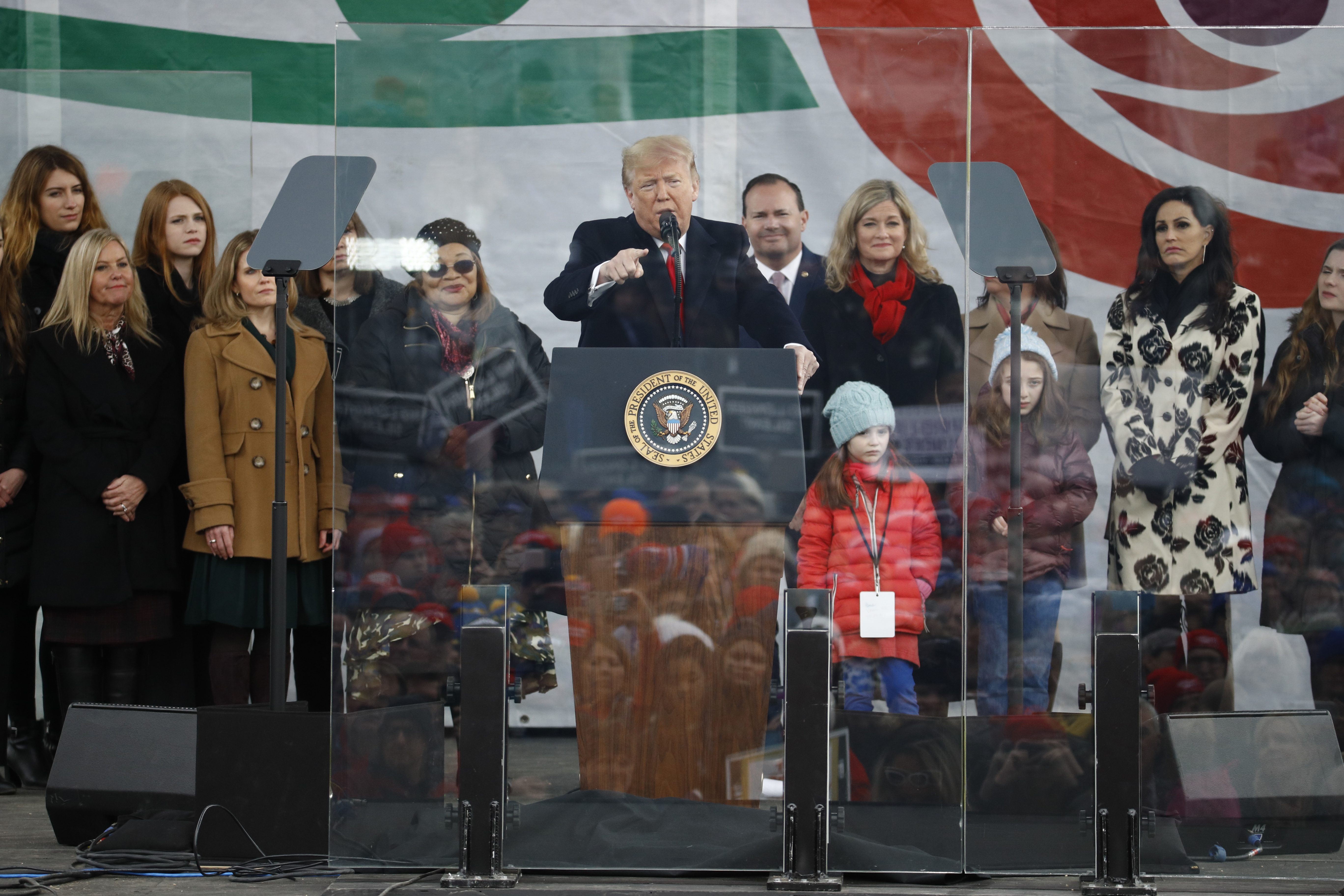 President Donald Trump speaks at a March for Life rally on Jan. 24, 2020, at the National Mall in Washington.