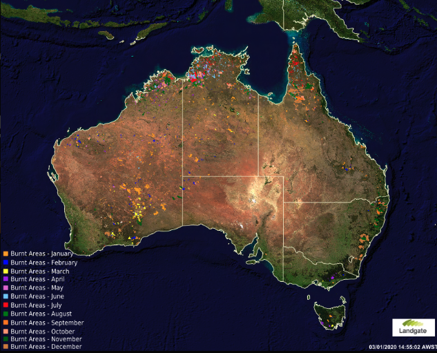 A map shows land burned by fires in Australia by month during the year 2019.
