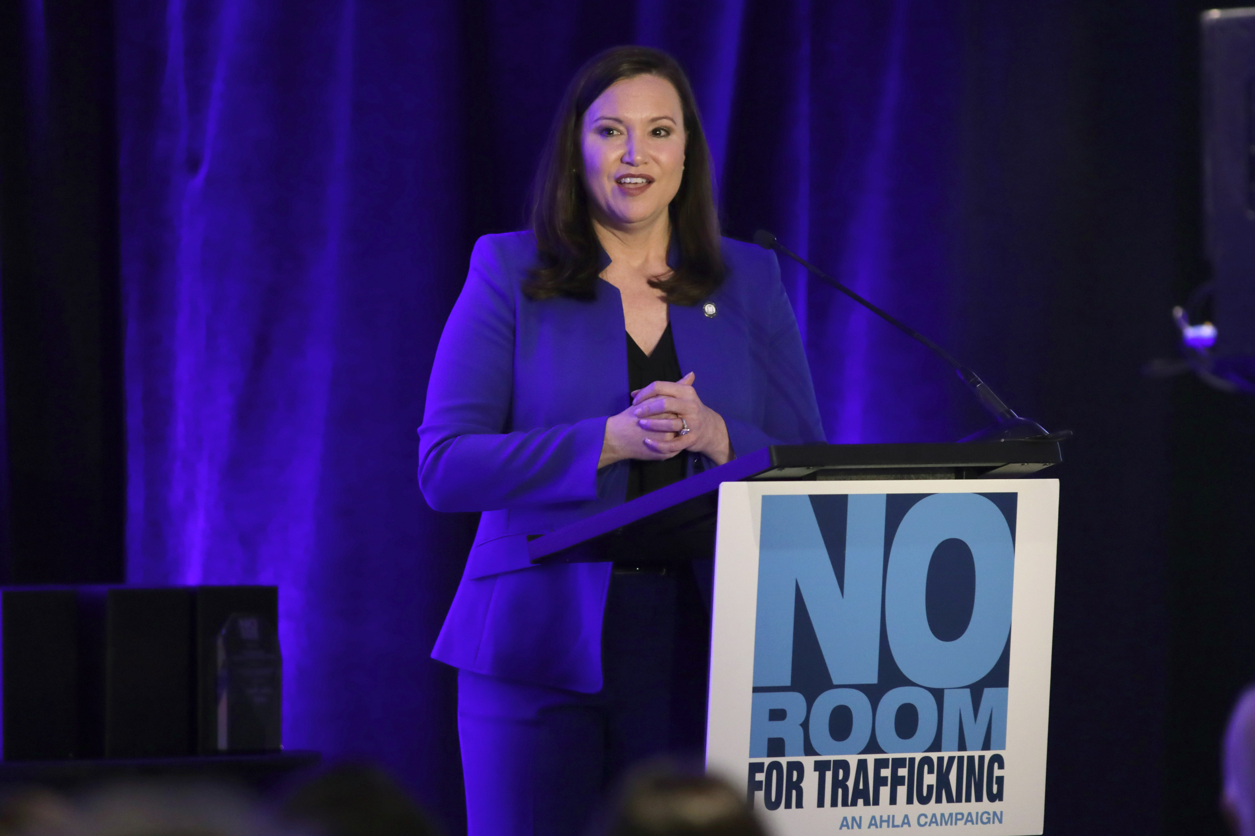 Florida Attorney General Ashley Moody speaks during a meeting between law enforcement officials and hotel groups to announce a campaign to prevent human trafficking surrounding next month's Super Bowl NFL football game in the Miami area, Thursday, Jan. 9, 2020, in Miami Beach, Fla.