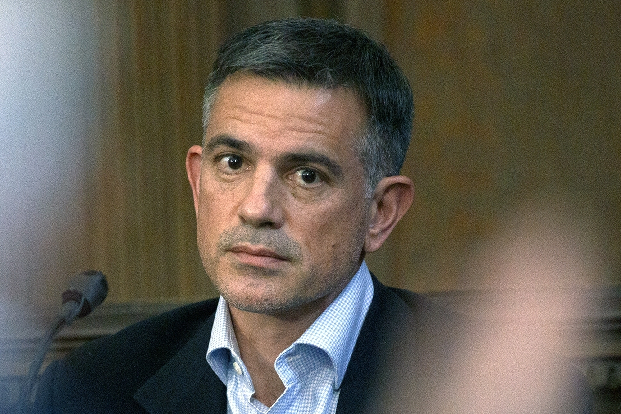 Fotis Dulos, charged with murdering his estranged and missing wife, is questioned during testimony in a civil case at Hartford Superior Court in Hartford, Conn on Dec. 4, 2019.