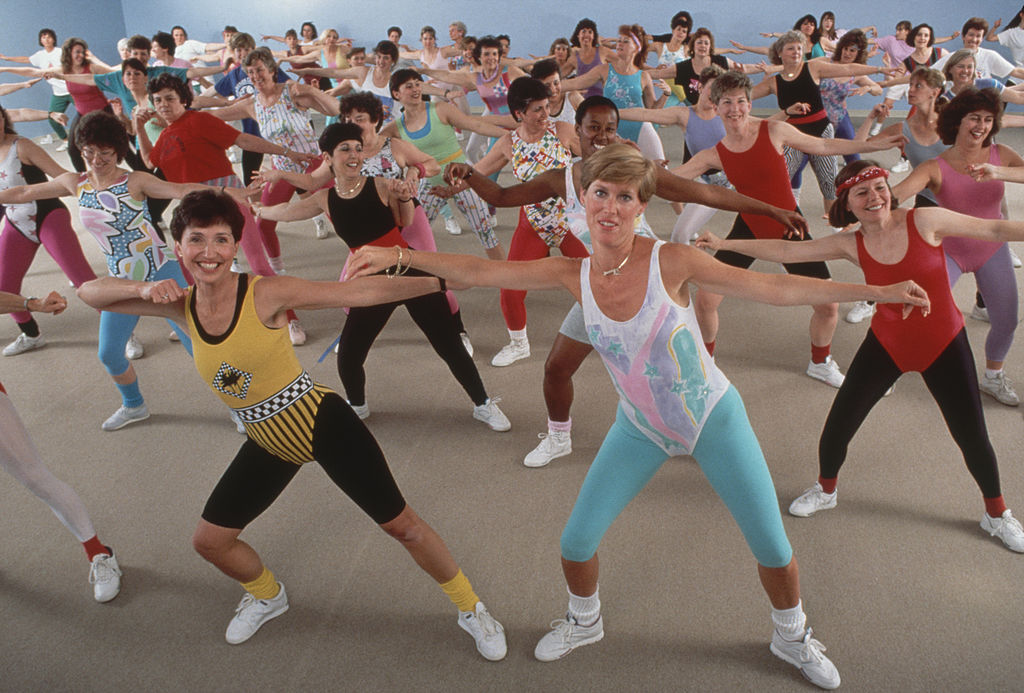 Aerobics instructor Anne Grossman (left, fore) and Karen Shaffer (right, fore) lead a women's exercise class at their Pennington Jazzercise Center, Pennington, N.J., April 1989.