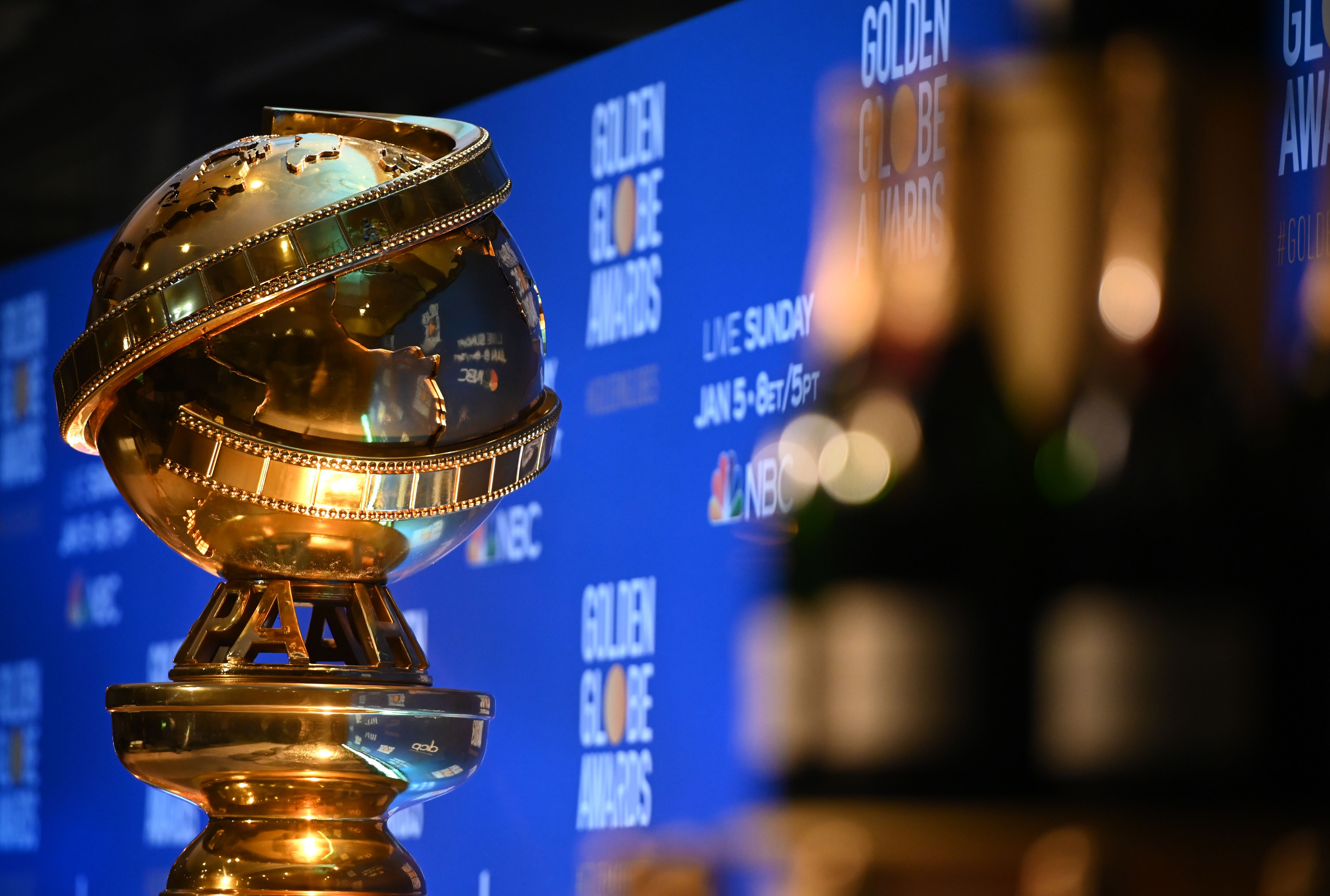 A Golden Globe trophy is set by the stage ahead of the 77th Annual Golden Globe Awards nominations announcement in Beverly Hills on Dec. 9, 2019.