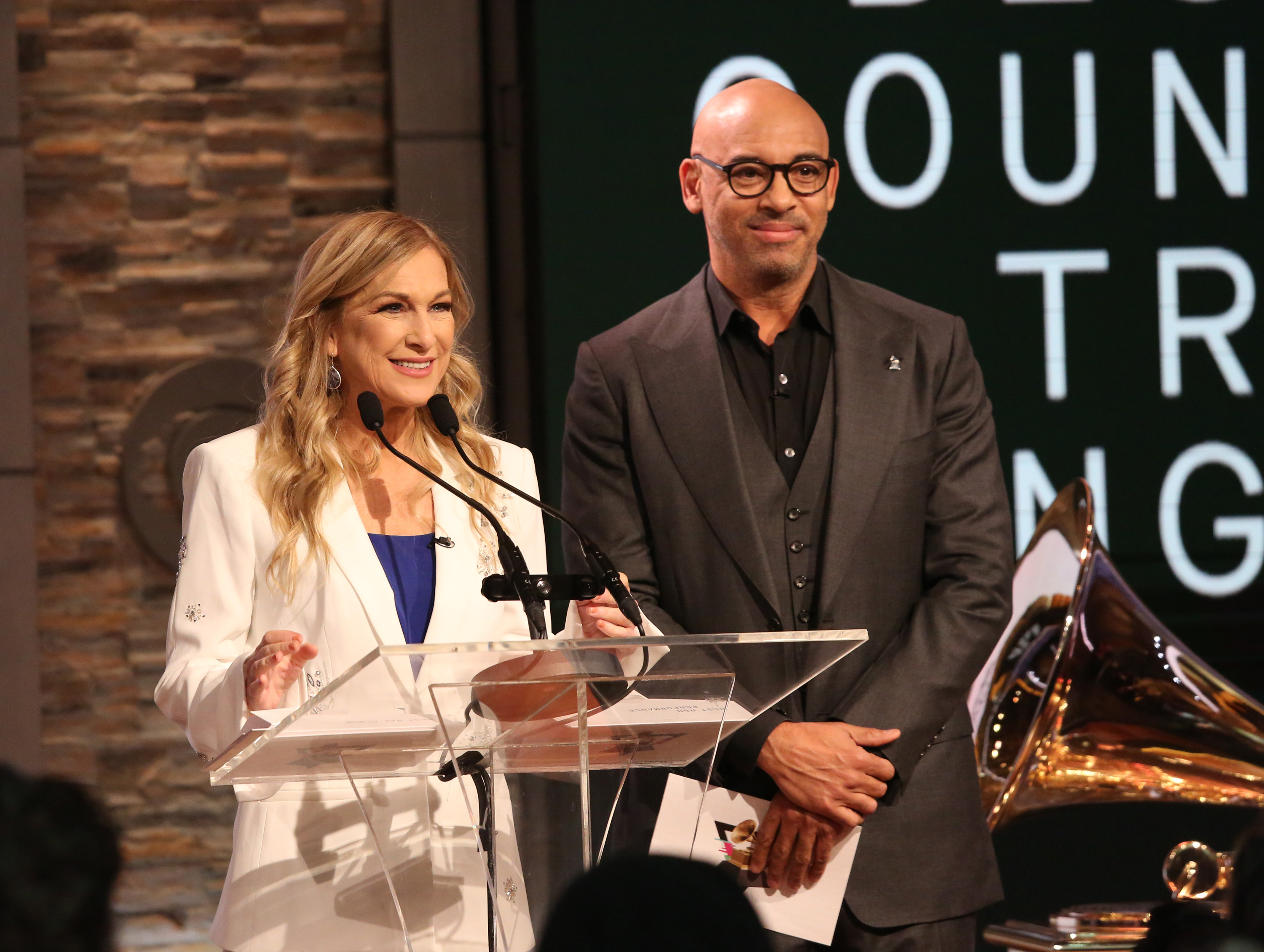 Former Recording Academy president and CEO Deborah Dugan and interim president Harvey Mason Jr. at the Grammy Nominations Press Conference on November 20, 2019 in New York City.