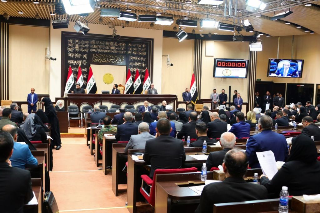 Iraqi Prime Minister Adel Abdul-Mahdi (C, down) attends an Iraqi parliament session in Baghdad, Iraq, on Jan. 5, 2020.