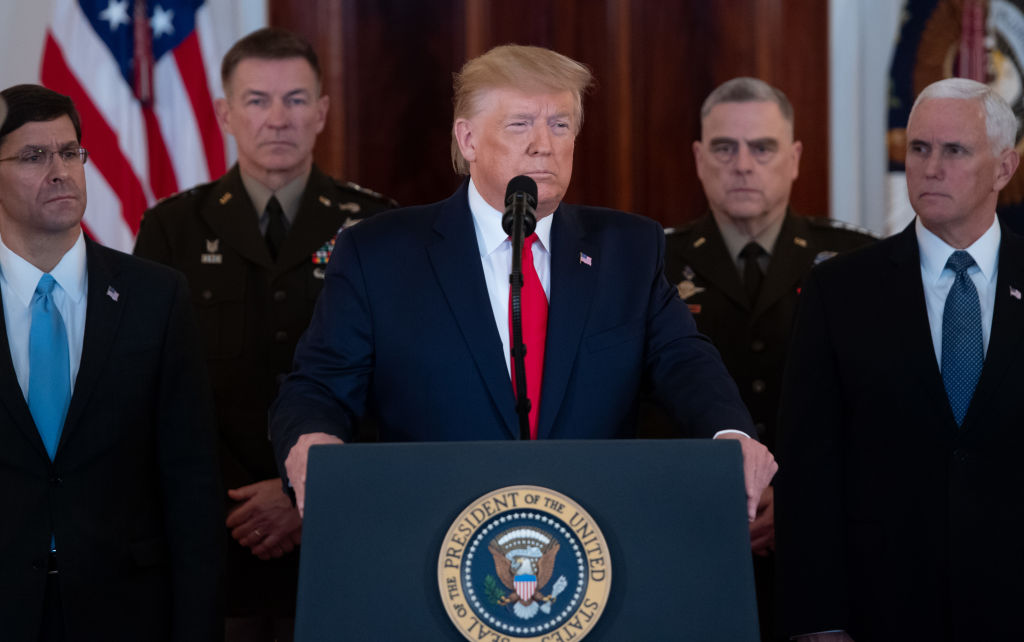 President Trump speaks about the situation with Iran in the White House in Washington, D.C., on Jan. 8, 2020.