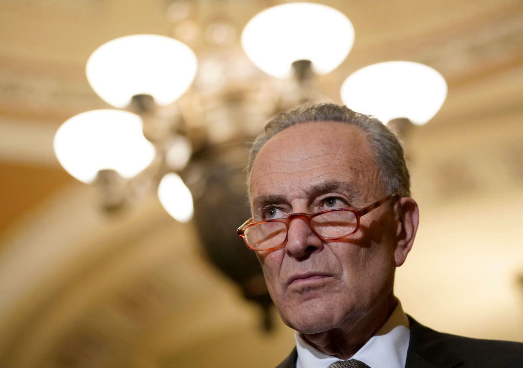 Senate Minority Leader Chuck Schumer (D-NY) during a press conference following weekly policy luncheons at the U.S. Capitol in Washington, DC, on December 10, 2019.