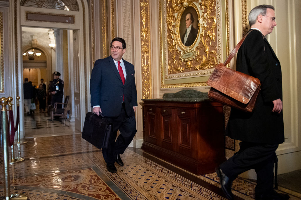 President Donald Trump's personal lawyer Jay Sekulow, left, and White House counsel Pat Cipollone arrive to the Capitol before the continuation of the impeachment trial of President Donald Trump on in Washington DC on Jan. 27, 2020.