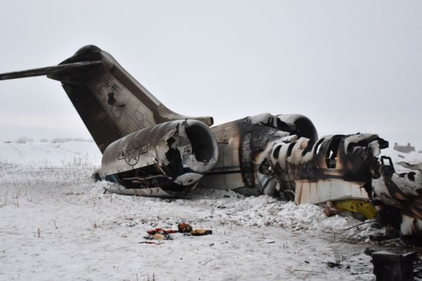 The wreckage of a US Bombardier E-11A jet is seen after it crashed in mountainous territory of Ghazni Province, Afghanistan, on January 27, 2020.