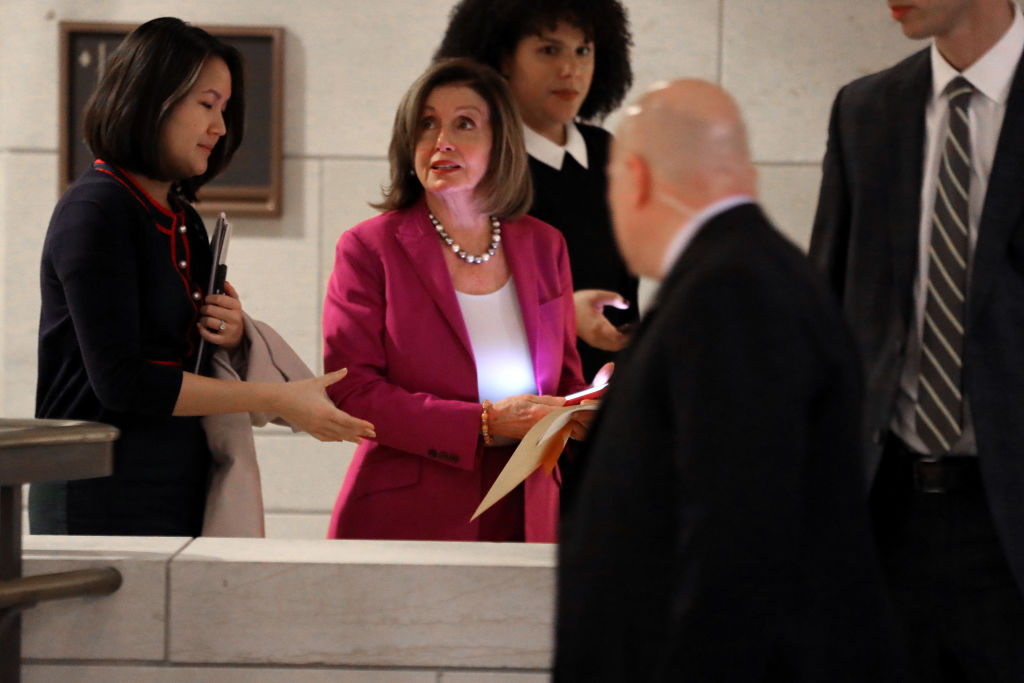 Speaker of the House Nancy Pelosi (D-CA) leaves the Senate Sensitive Compartmented Information Facility inside the U.S. Capitol Visitors Center following a briefing for members of the Gang of Eight in Washington, DC, on January 07, 2020.
