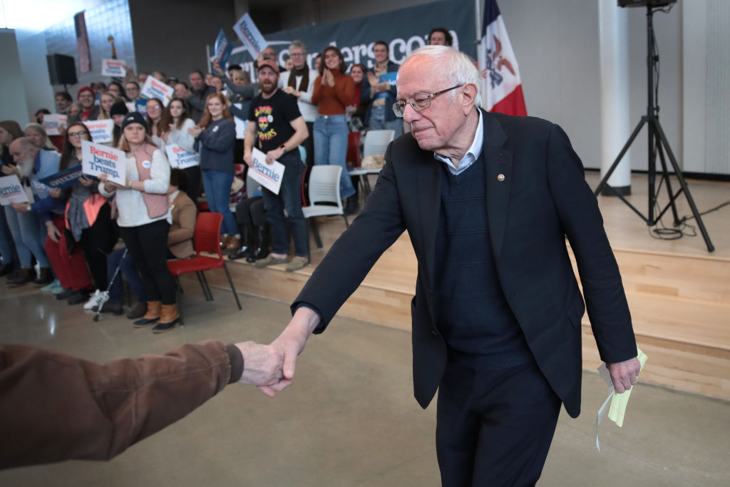 Democratic presidential candidate Sen. Bernie Sanders (I-VT) arrives for a campaign stop at Berg Middle School in Newton, Iowa, on January 11, 2020.
