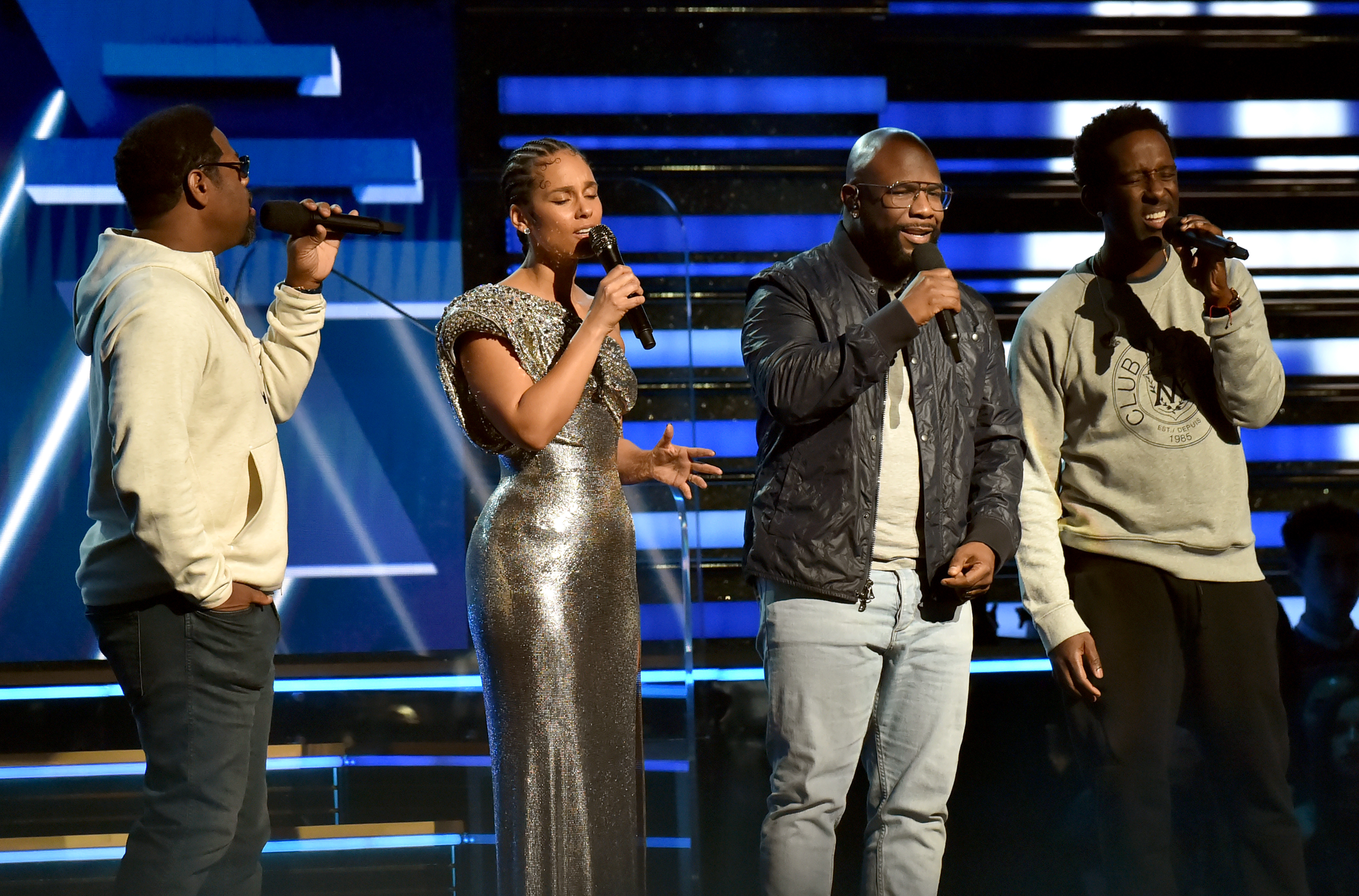 Alicia Keys and Nathan Morris, Wanya Morris, and Shawn Stockman of Boyz II Men perform onstage during the 62nd Annual GRAMMY Awards on January 26, 2020 in Los Angeles, California.