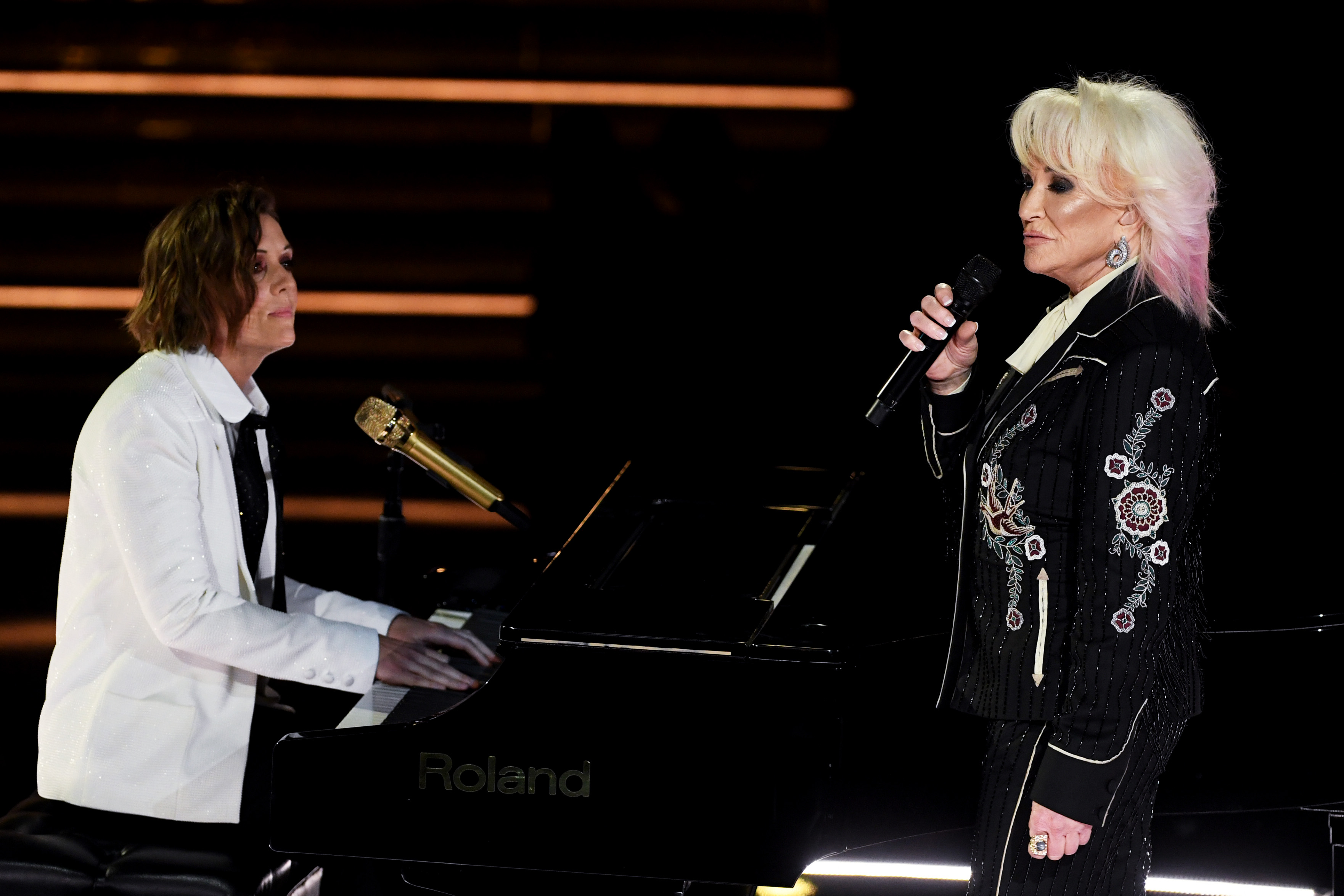 Brandi Carlile and Tanya Tucker perform onstage during the 62nd Annual GRAMMY Awards at STAPLES Center on January 26, 2020 in Los Angeles, California.