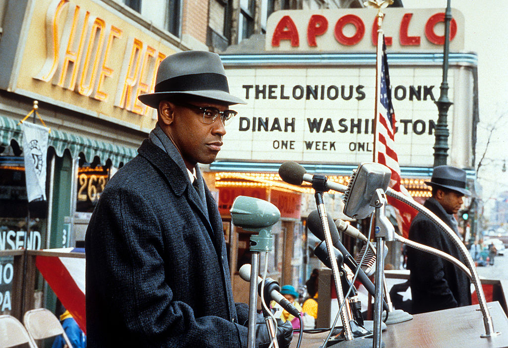 Denzel Washington in Spike Lee's 1992 Malcolm X, a biopic of the African-American activist.