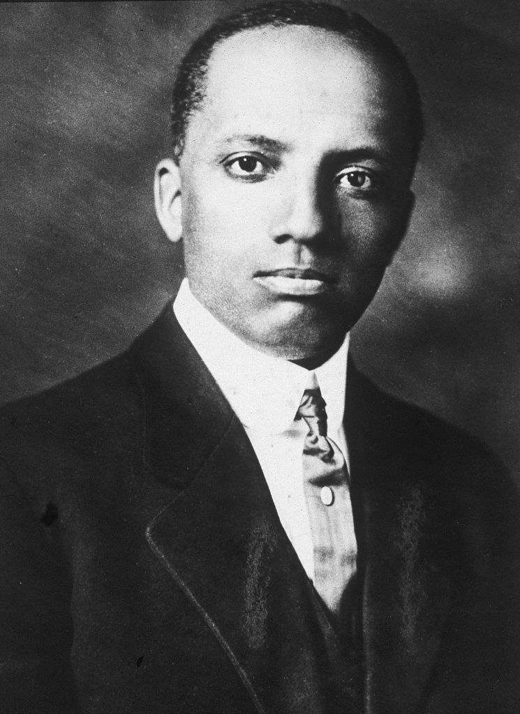 A circa -910s portrait of historian and educator Carter G. Woodson.