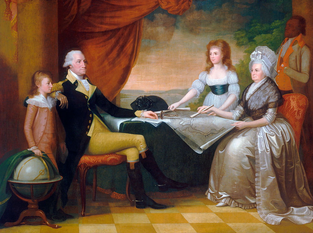 The Washington Family by Edward Savage (American, 1761 - 1817); oil on canvas, 1789 - 96, from the National Gallery, Washington, DC. The Washington family sits in a room overlooking the Potomac River in Washington, studying an architectural plan for the future grand construction of the capitol city.