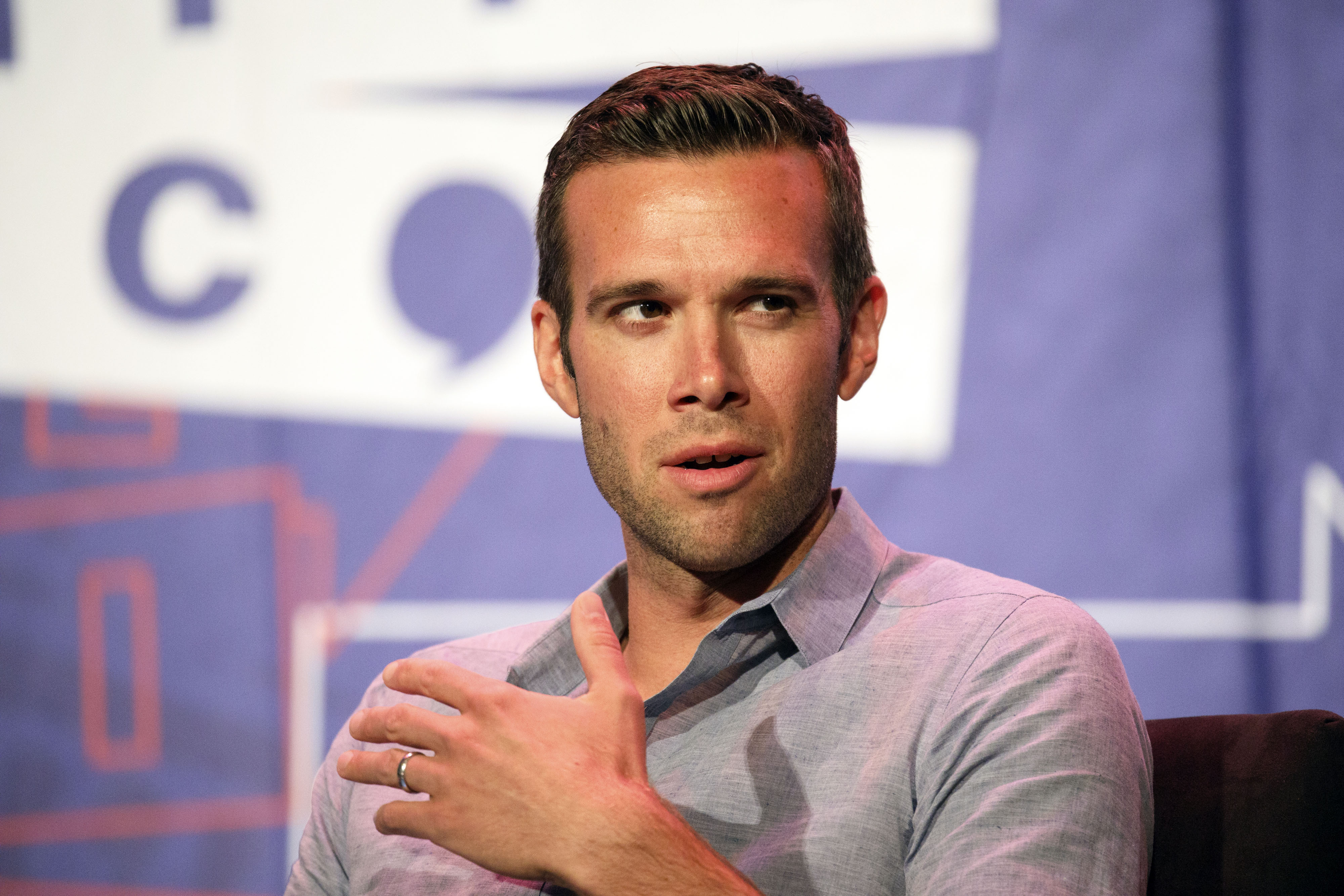 Jon Favreau, former chief speechwriter for President Barack Obama, speaks during the Politicon convention inside the Pasadena Convention Center in Pasadena, Calif., on, July 29, 2017.