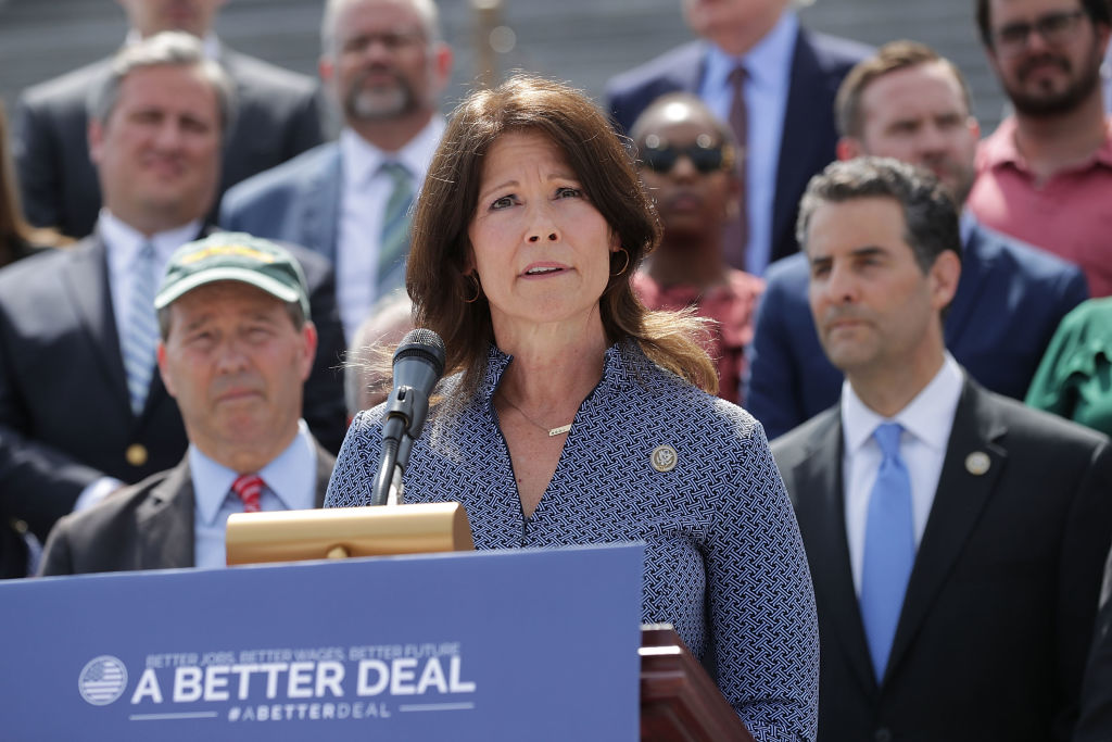 Rep. Cheri Bustos (D-IL) joins a group of fellow Democrats and their supporters to introduce a new campaign to retake Congress during a news conference at the U.S. Capitol May 21, 2018 in Washington, DC.