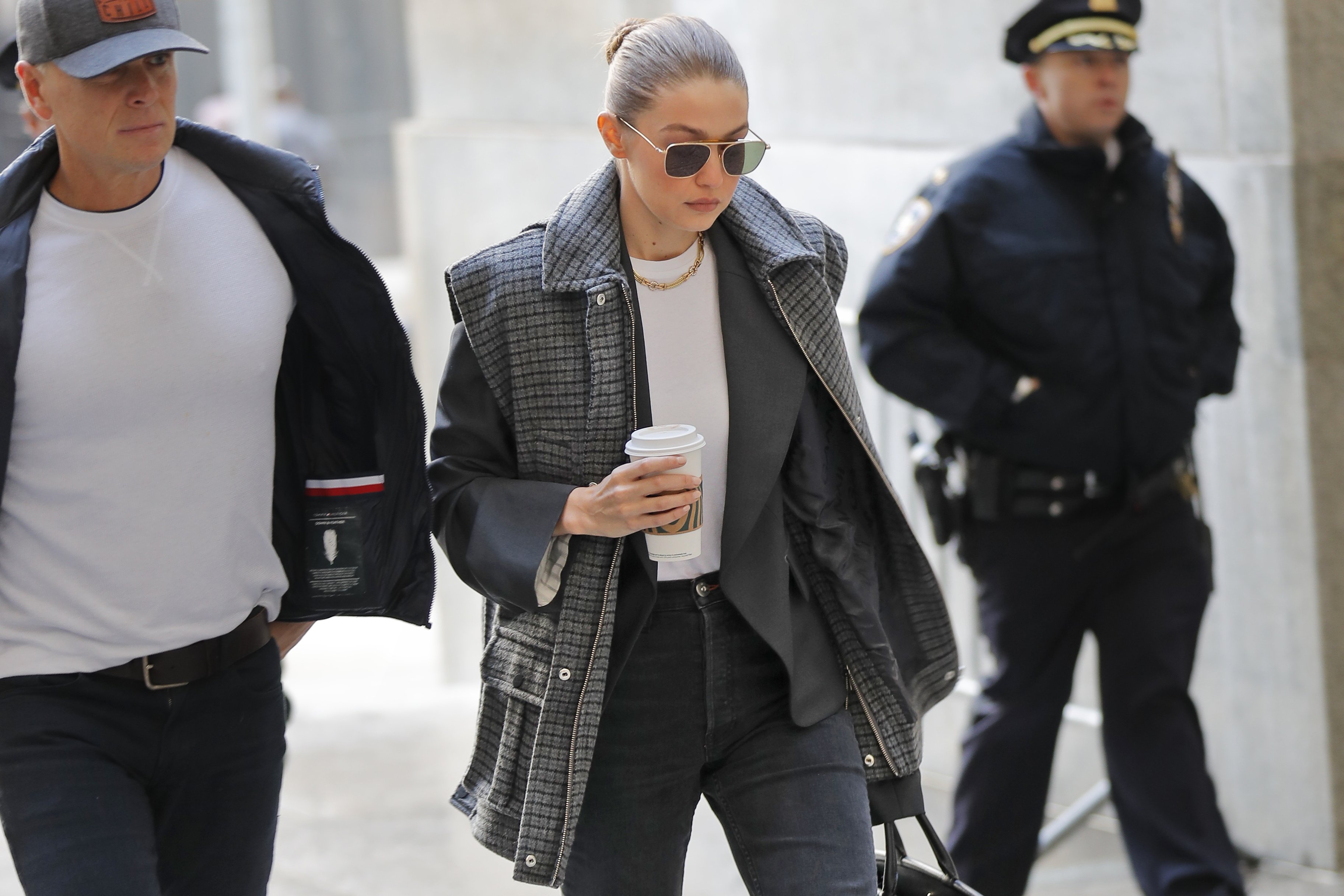 Supermodel Gigi Hadid arrives at a Manhattan courthouse for Harvey Weinstein's jury selection in his trial on rape and sexual assault charges in New York, Thursday, Jan. 16, 2020.