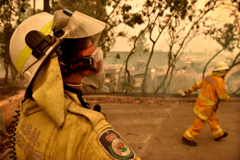 Members of the New South Wales Rural Fire Service are seen in Batemans Bay, New South Wales, Australia, on Tuesday, Dec. 31, 2019.