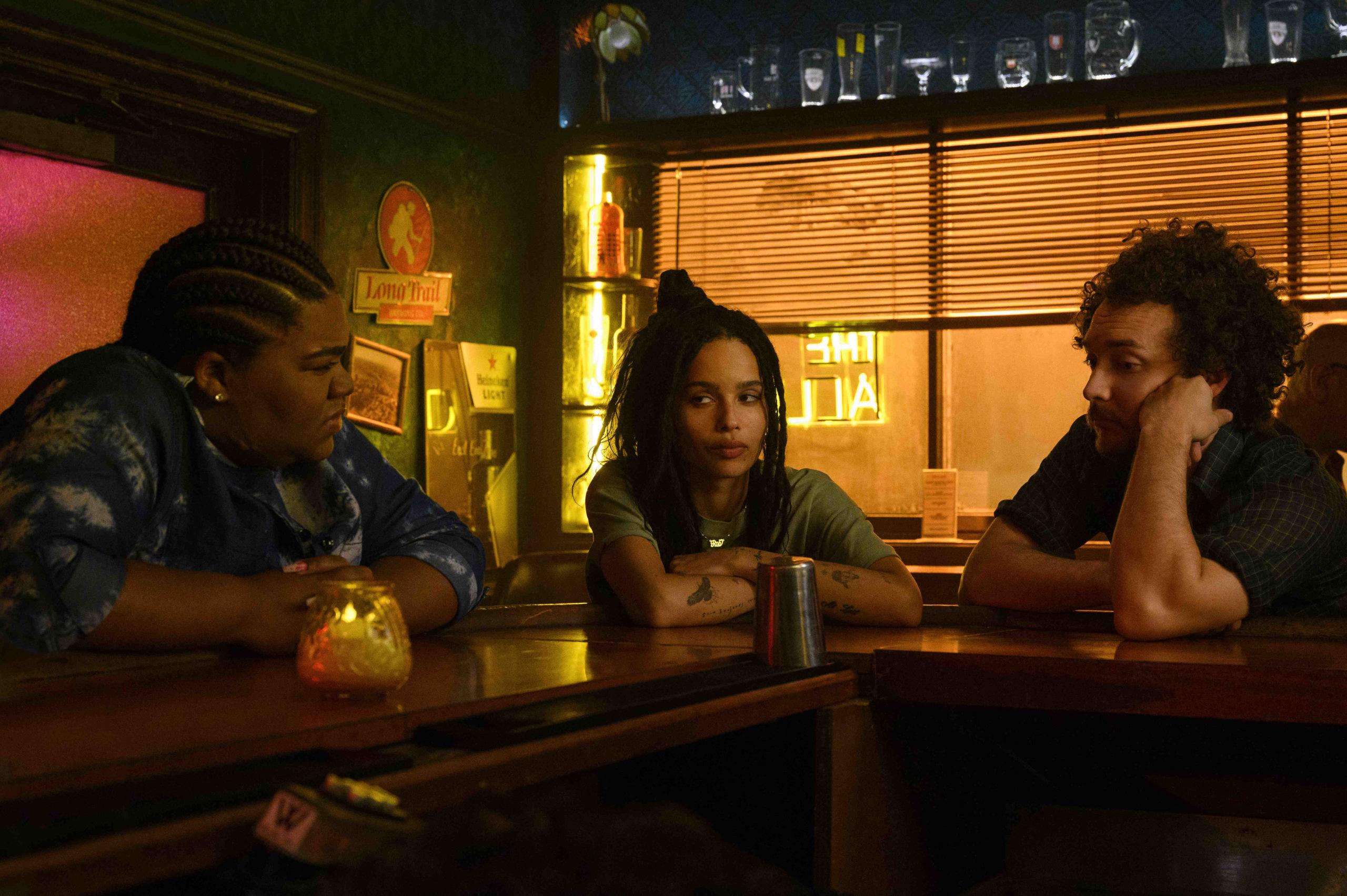Da'Vine Joy Randolph, Zoë' Kravitz and David H. Holmes in 'High Fidelity'