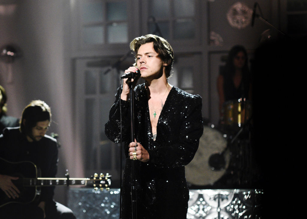 Musical Guest Harry Styles performs  Lights Up  at Saturday Night Live on November 16, 2019.