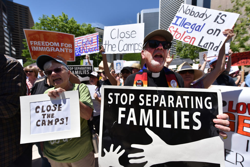 Protesters demand the closure of immigrant detention centers in Denver, Colorado on July 2, 2019.
