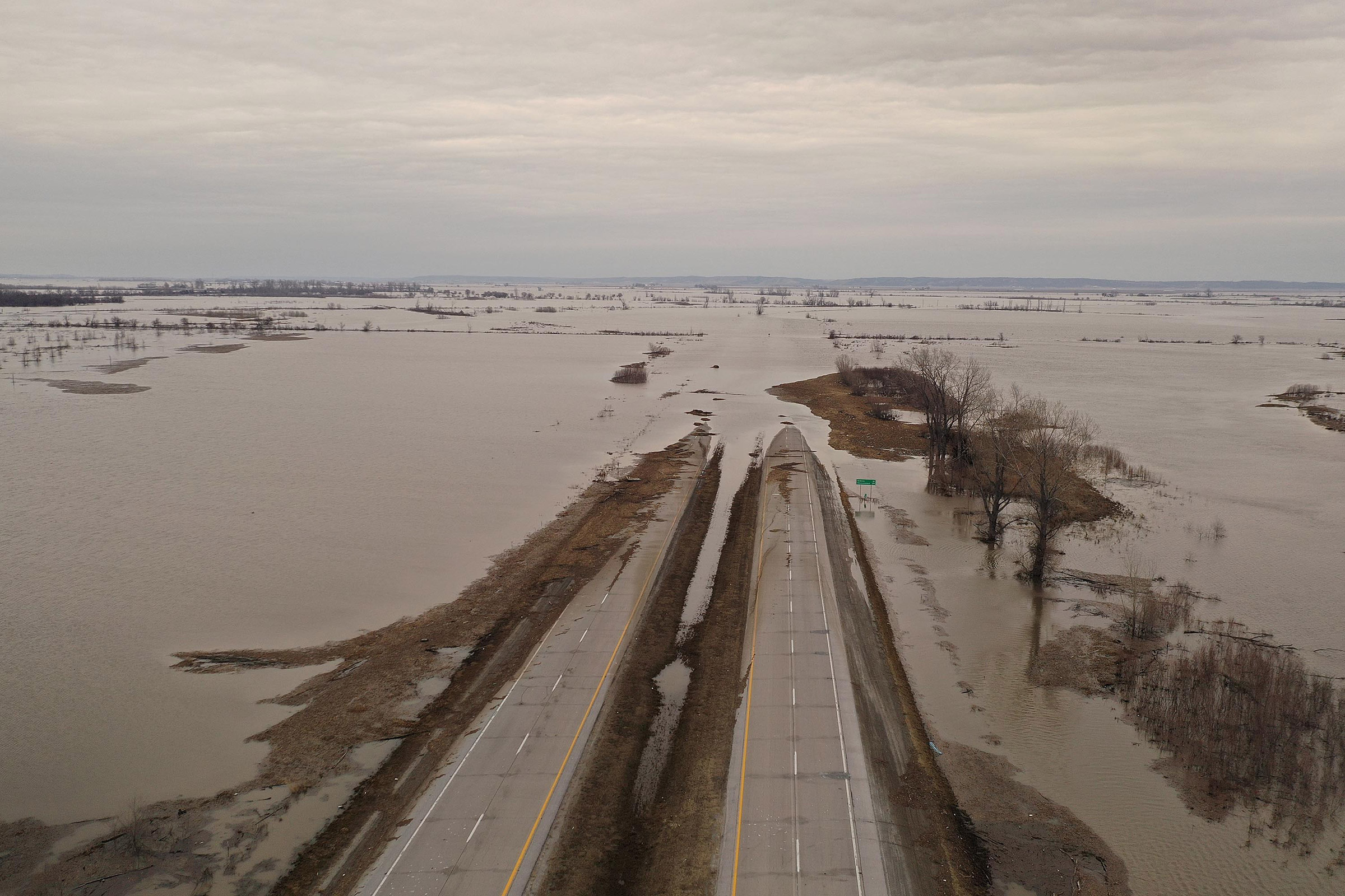 Floodwater covers Highway 2 near Sidney. Iowa on March 23, 2019.