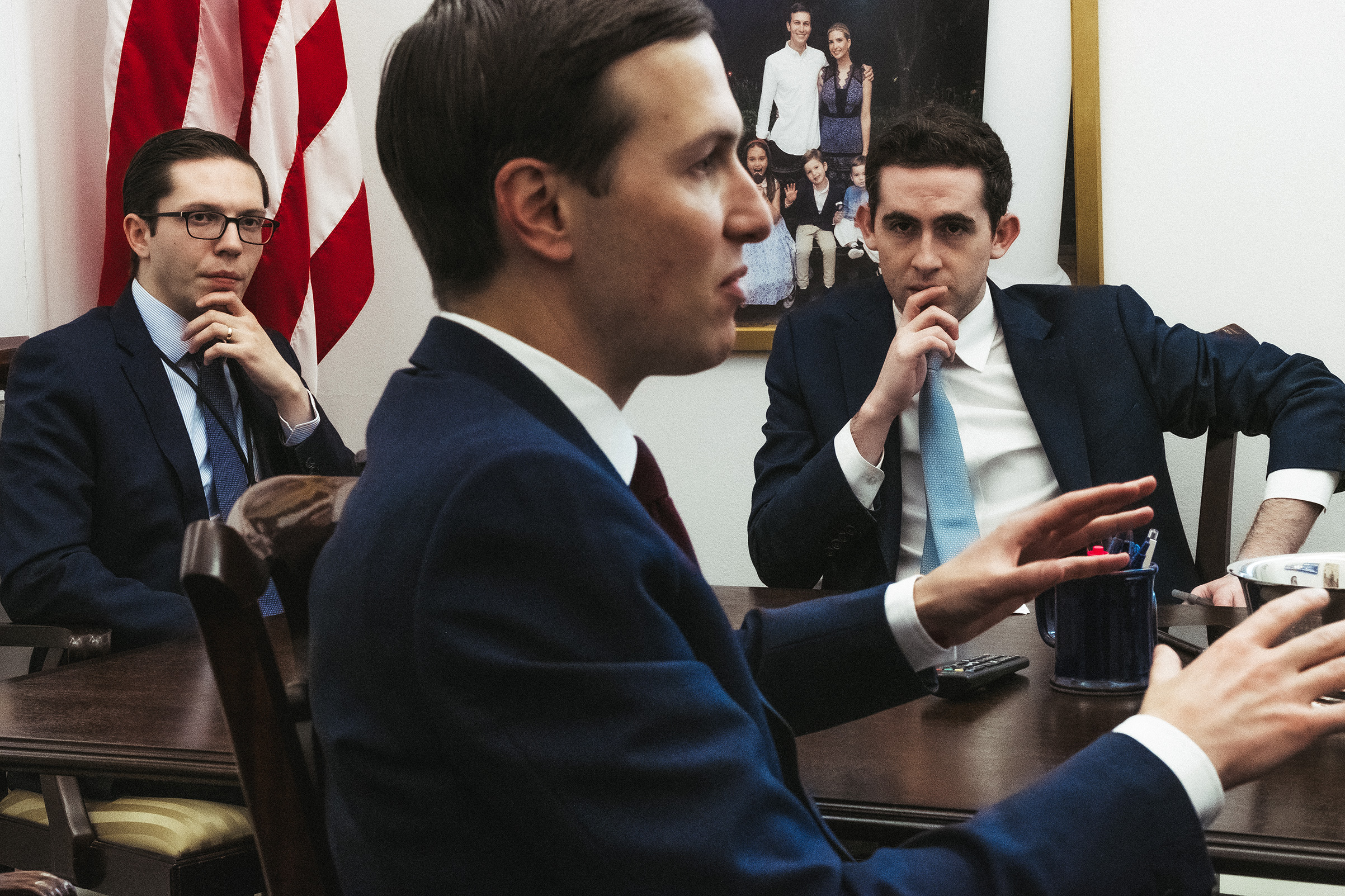 Kushner and staffers meet in his West Wing office next to the President's private dining room on Dec. 19, 2020.