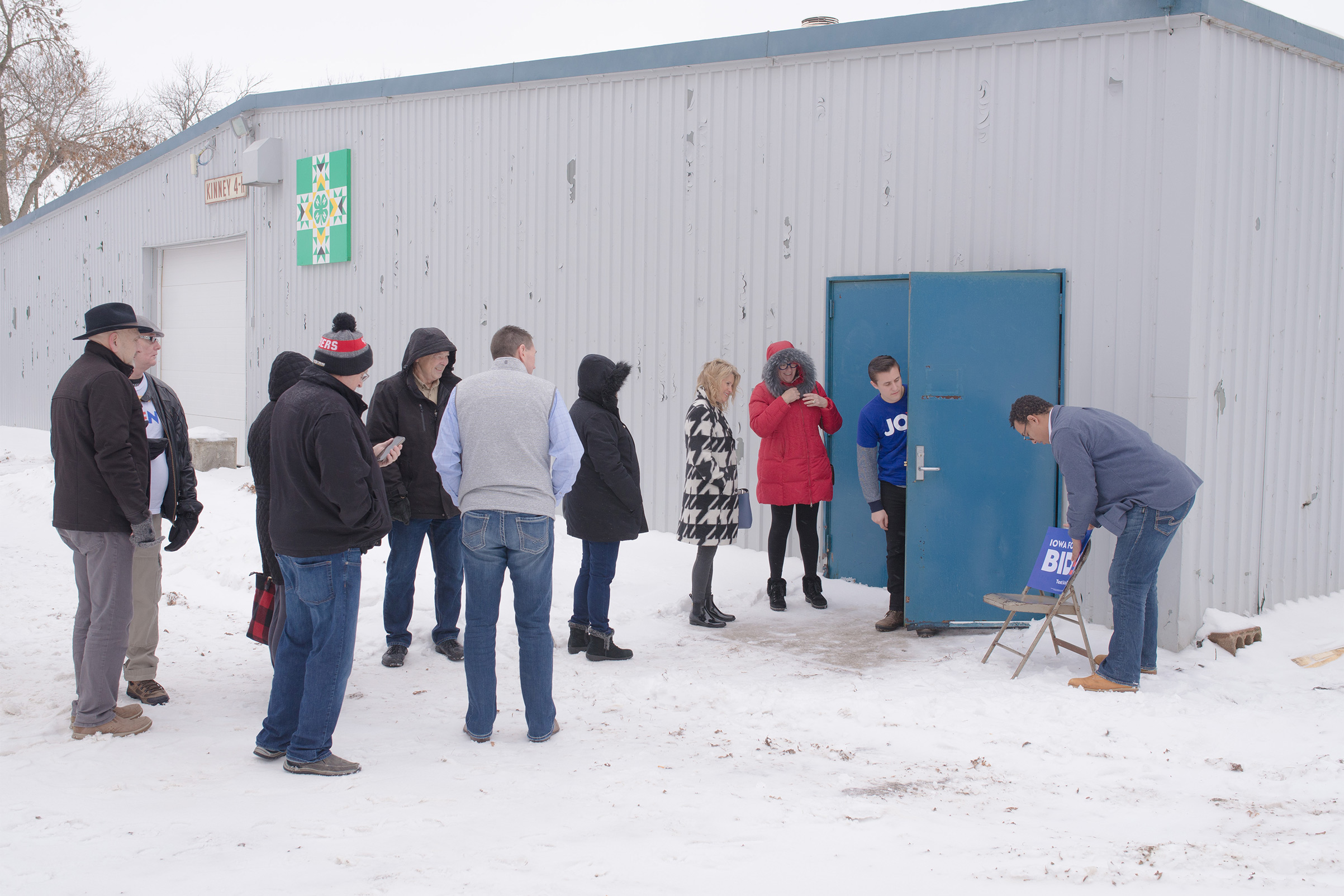 Supporters line up outside of a Joe Biden community event in Mason City, Iowa, Jan. 22, 2020.