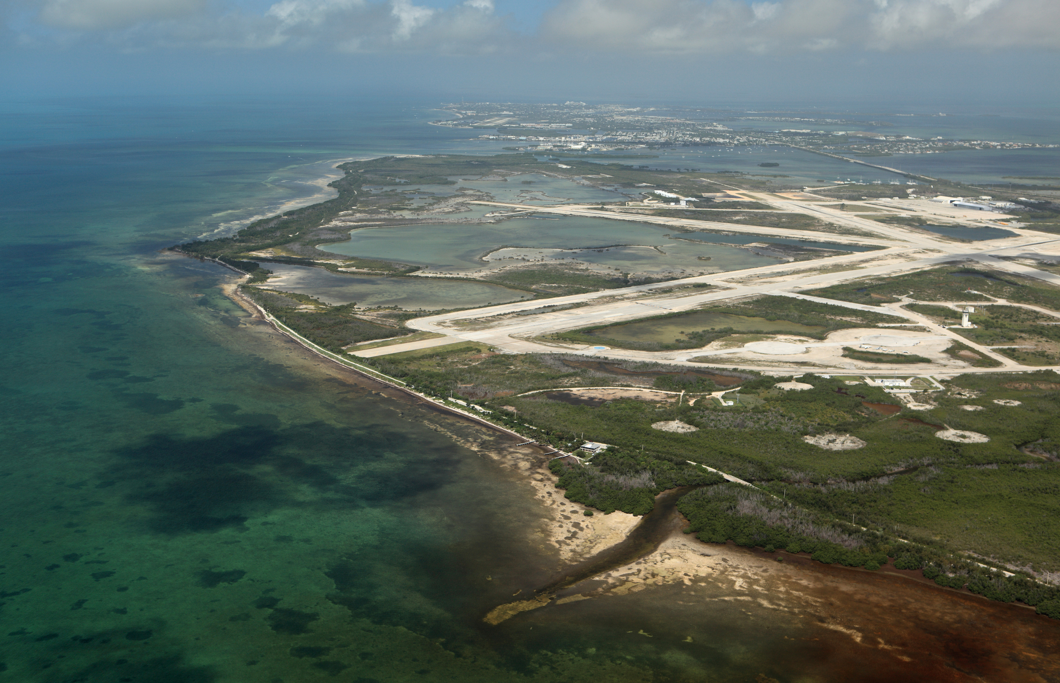 Aerial photo of Naval Air Station in Key West, Florida.