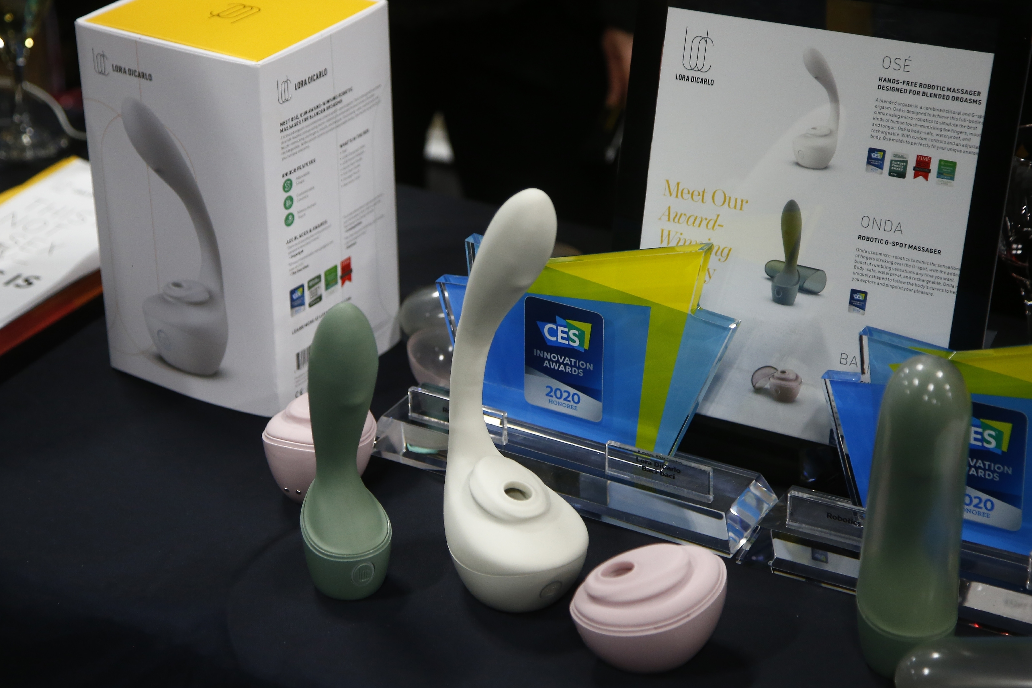 Lora DiCarlo offers a complete line of robotic sexual stimulation devices for women shown here at the CES Unveiled media preview event, Sunday, Jan. 5, 2020, in Las Vegas.