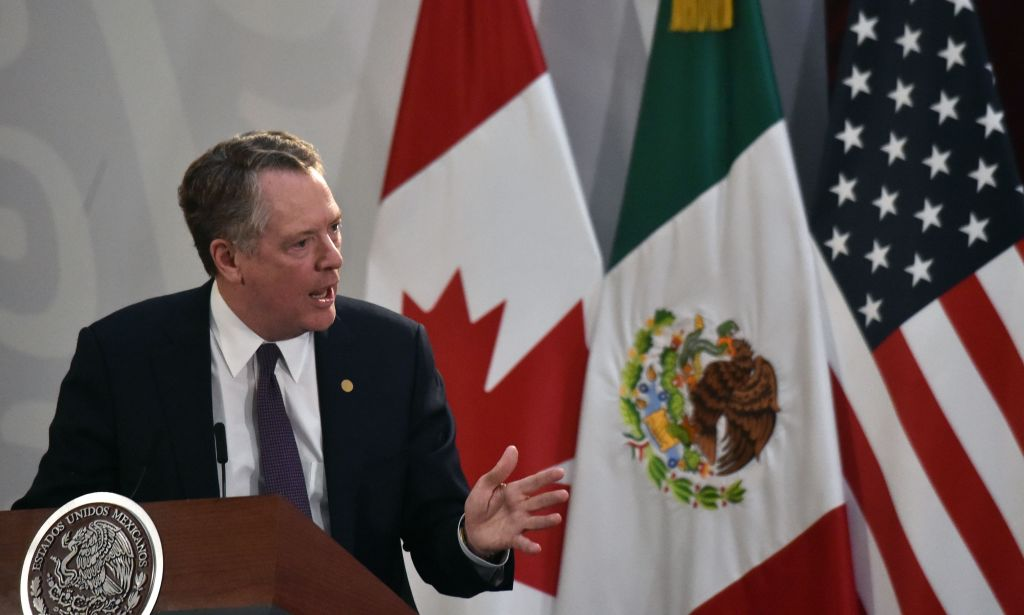 United States Trade Representative Robert Lighthizer speaks during a meeting with Mexican President Andres Manuel Lopez Obrador (out of frame) and Canadian Vice-Prime Minister Chrystia Freeland (out of frame) in Mexico City on December 10, 2019.