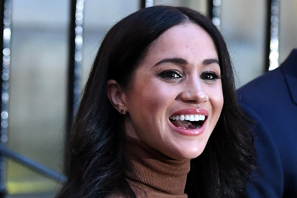 Meghan, Duchess of Sussex reacts after her visit with Prince Harry, Duke of Sussex to Canada House in London, England on January 7, 2020.