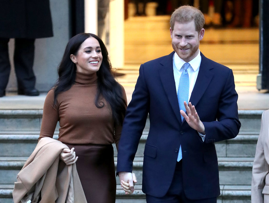 Prince Harry, Duke of Sussex and Meghan, Duchess of Sussex depart Canada House on Tuesday in London, England.