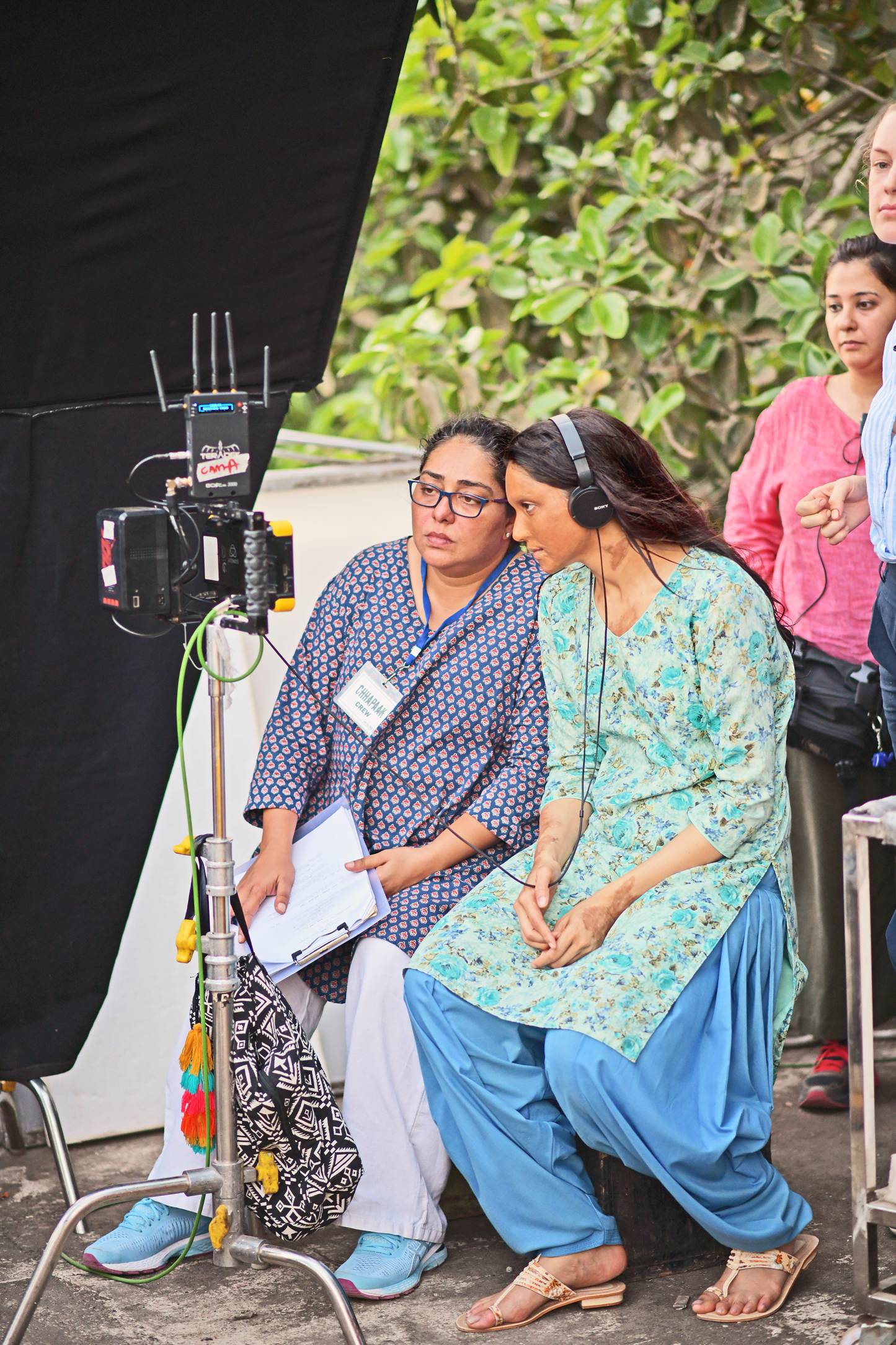 Director Meghna Gulzar and actor Deepika Padukone on the set of Chhapaak